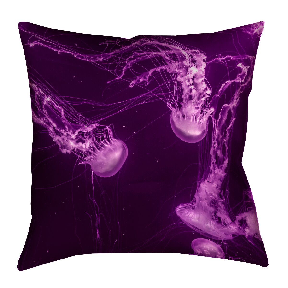 Hansard Magenta Jellyfish Double Sided Print Throw Pillow Size: 20