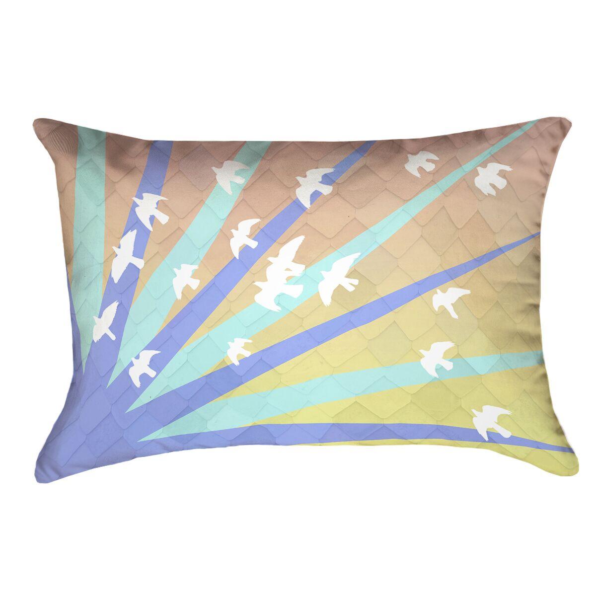 Enciso Birds and Sun Outdoor Lumbar Pillow Color: Blue/Orange