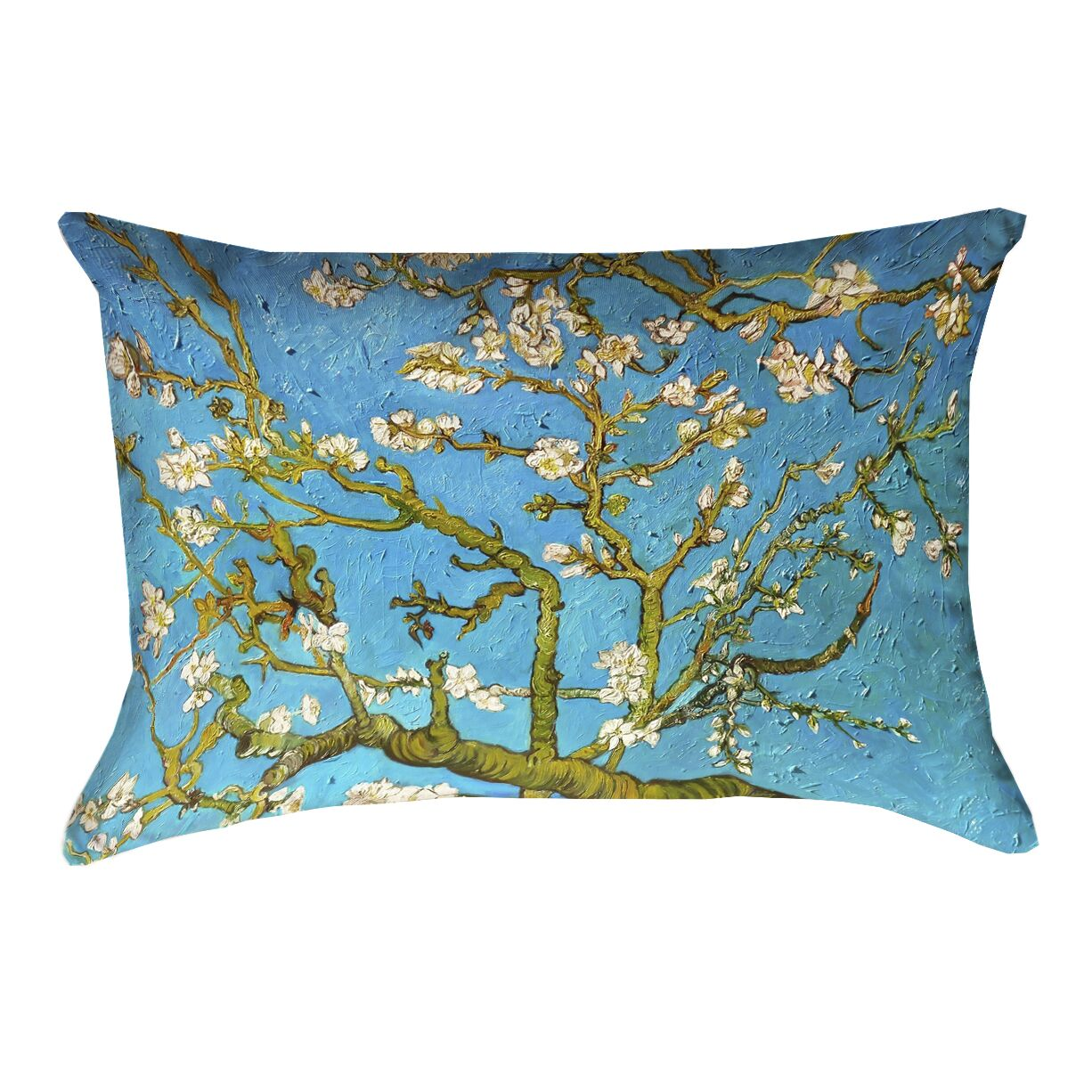 Lei Almond Blossom Linen Lumbar Pillow Color: Blue/Yellow