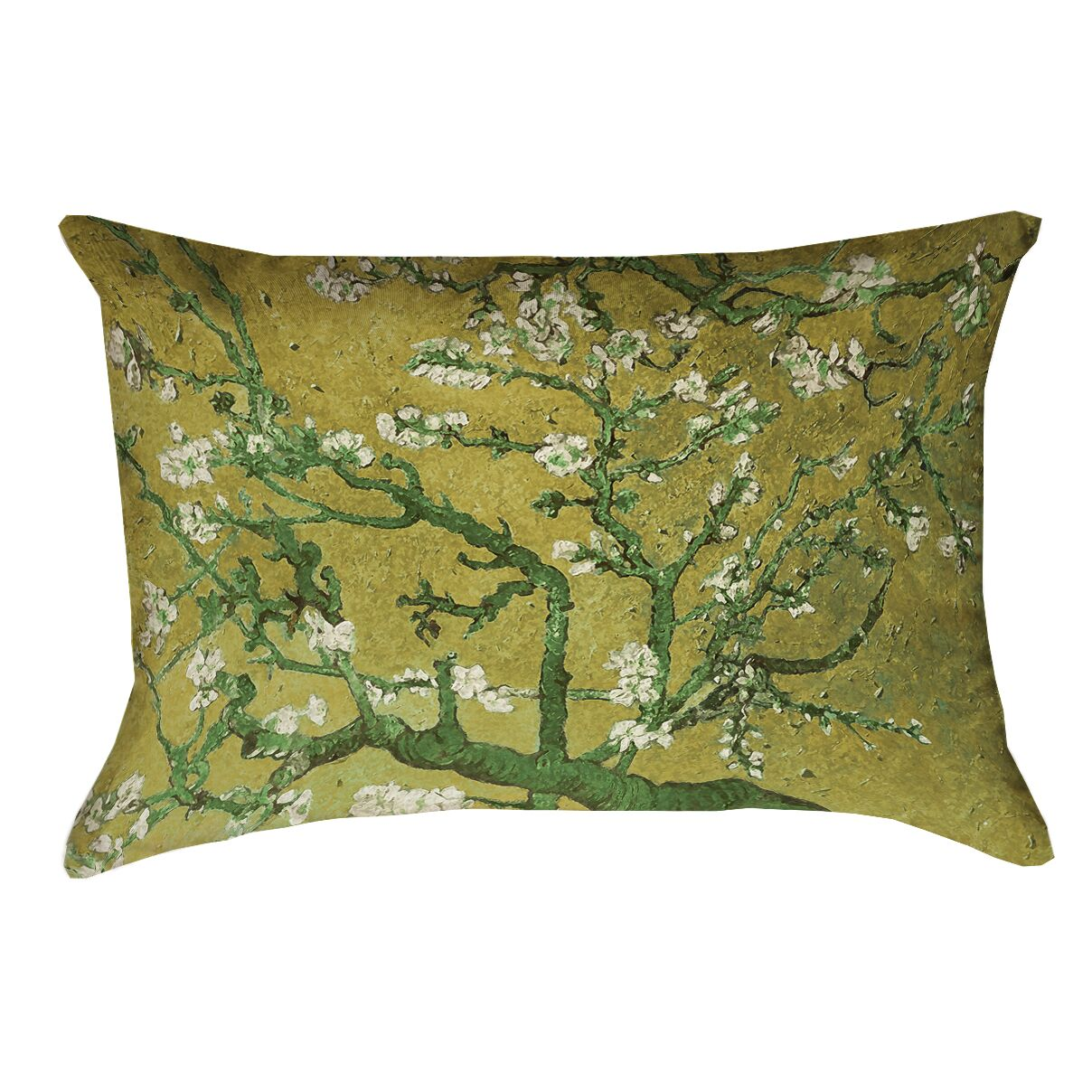 Lei Almond Blossom Lumbar Pillow with Concealed Zipper Color: Yellow/Green