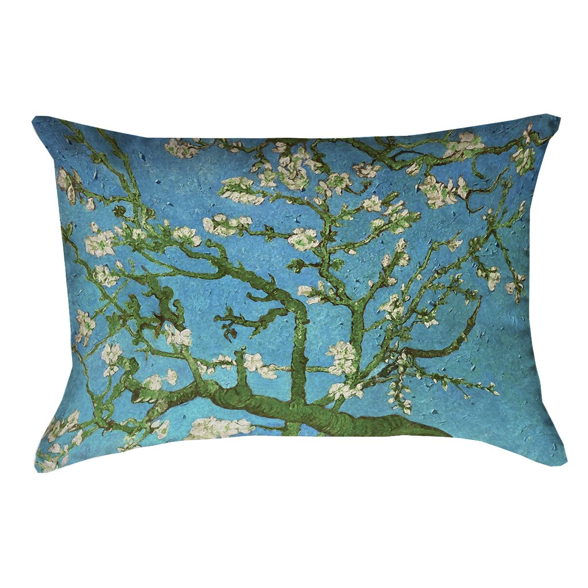 Lei Almond Blossom Linen Lumbar Pillow Color: Blue/Green