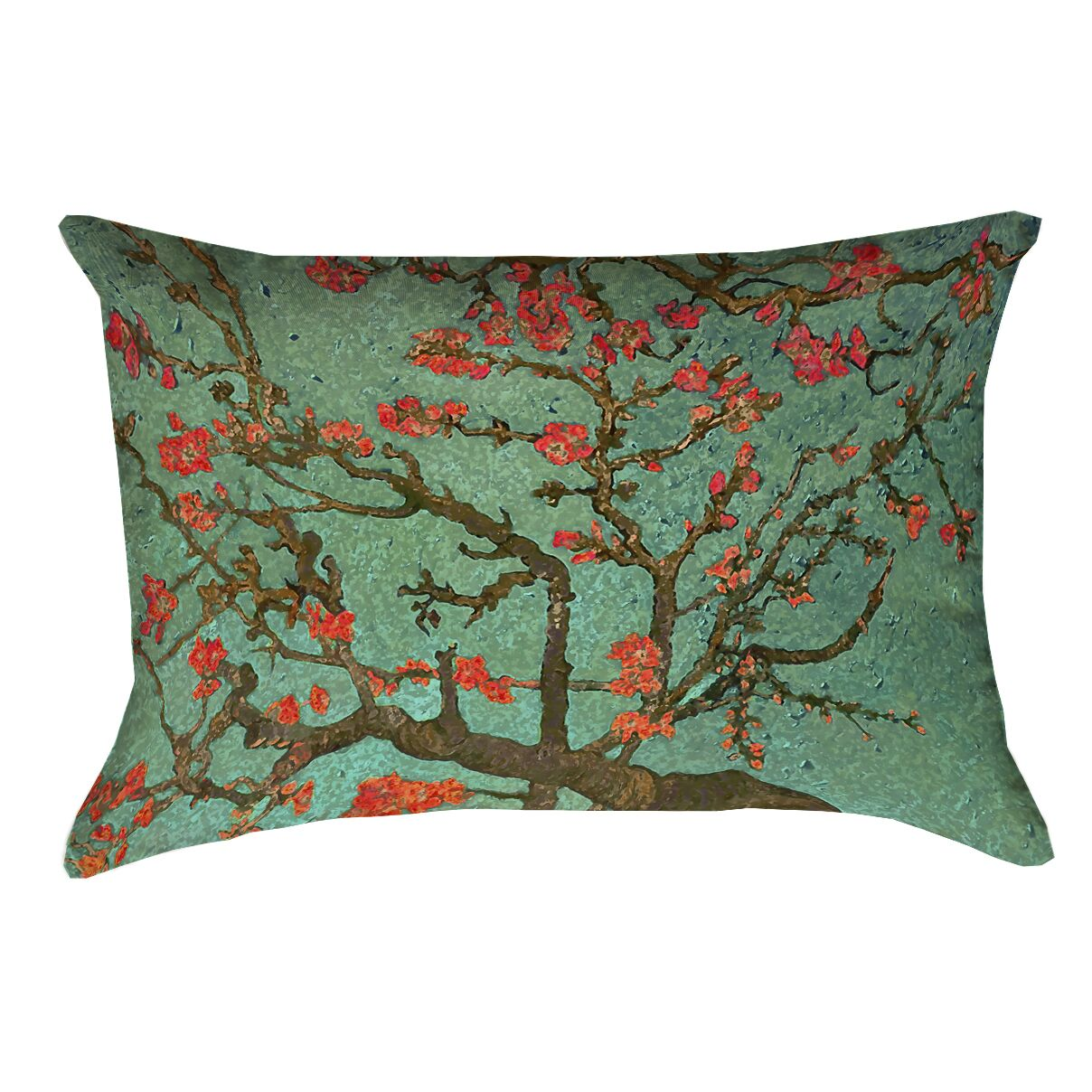 Lei Almond Blossom Pillow Cover with Zipper Color: Green/Red