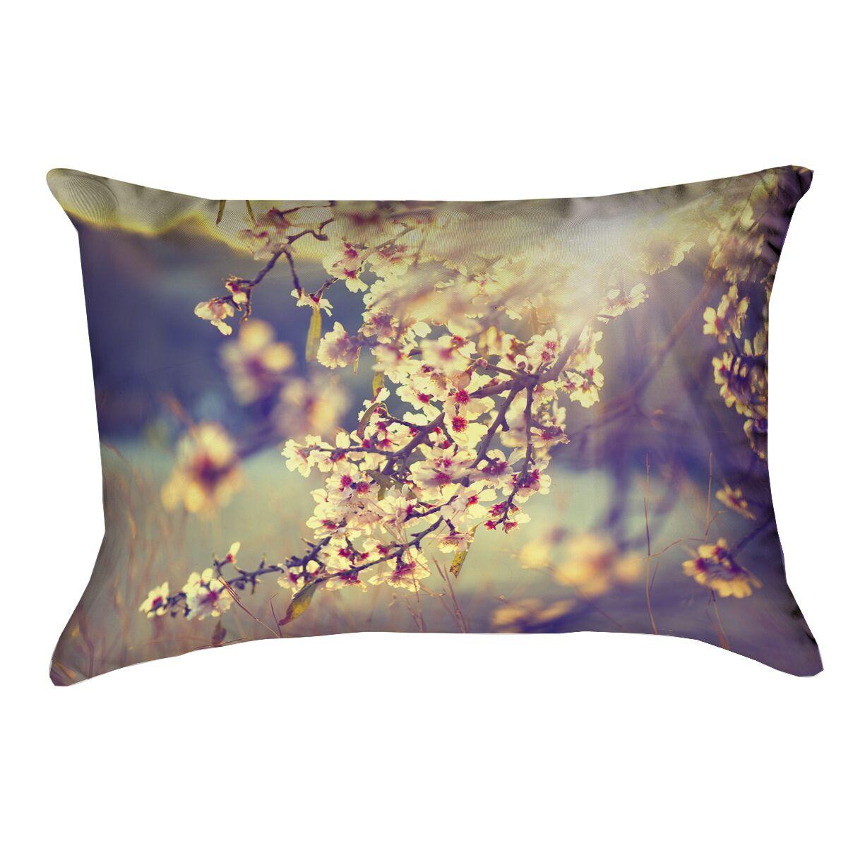 Ghost Train Cherry Blossoms Lumbar Pillow