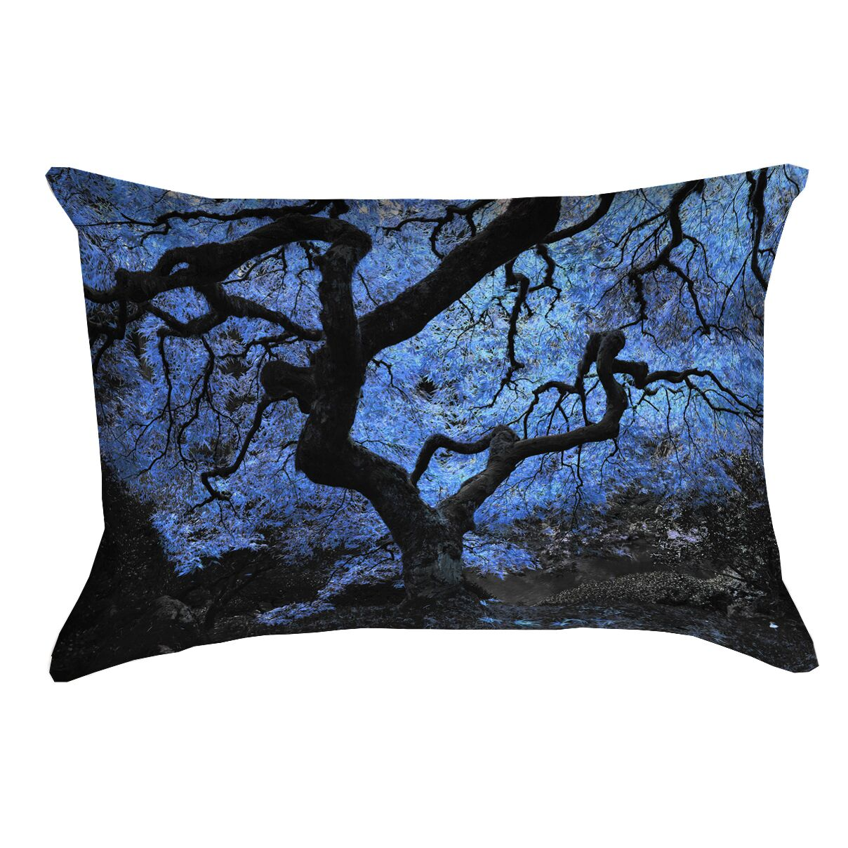 Ghost Train Japanese Maple Tree Outdoor Lumbar Pillow