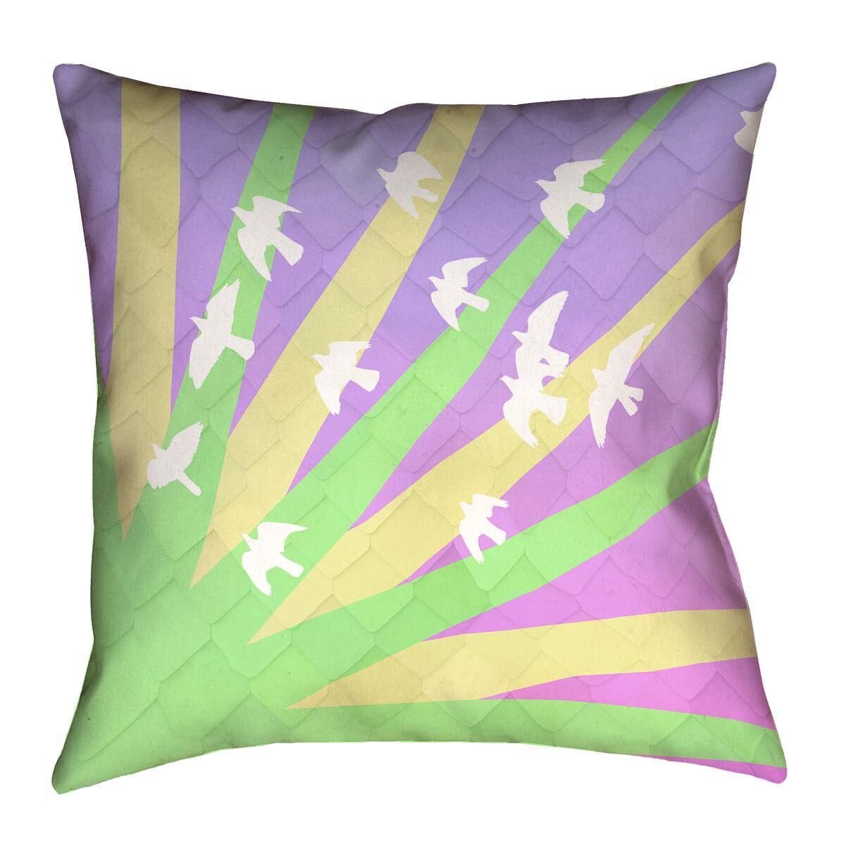Enciso Modern Birds and Sun Pillow Cover Size: 16