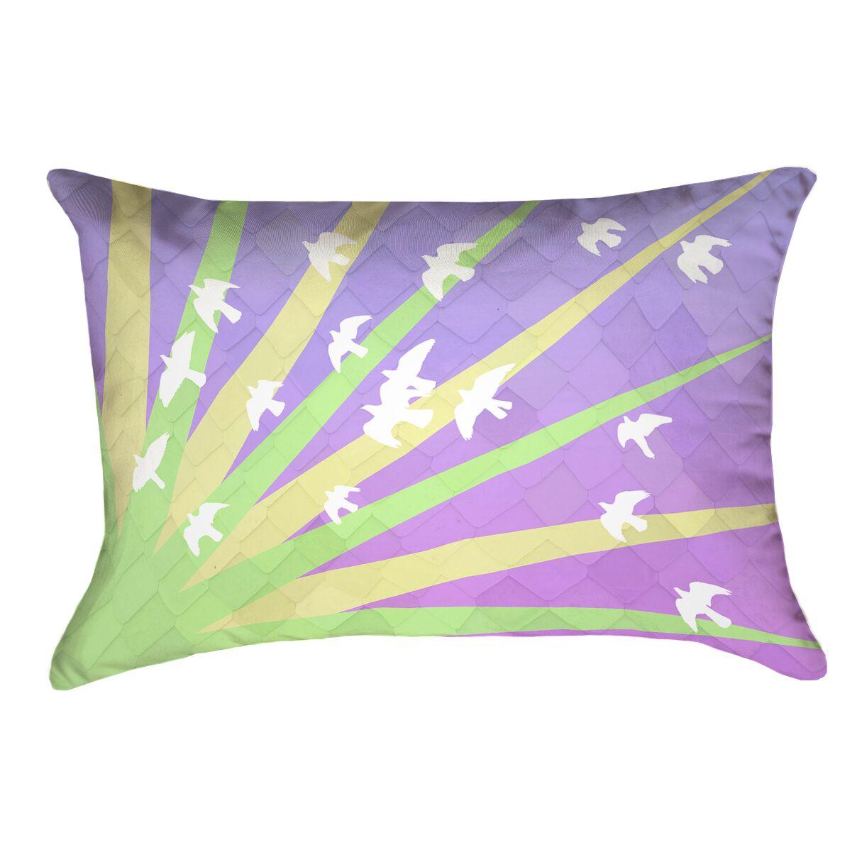 Enciso Birds and Sun Zipper Lumbar Pillow Color: Pink/Yellow/Blue