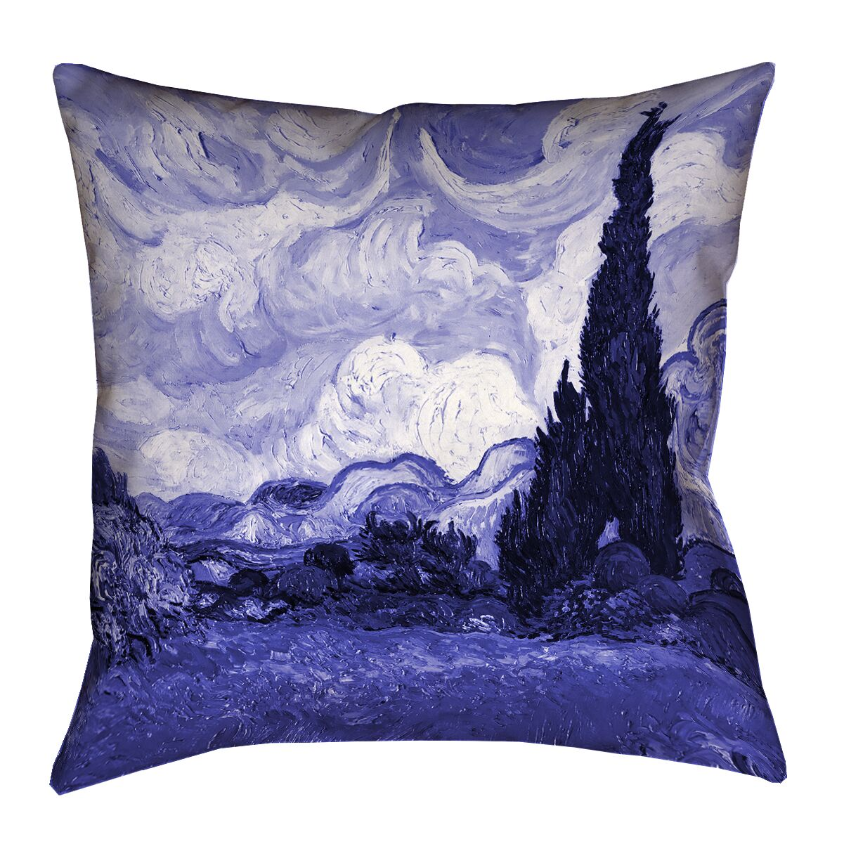 Meredosia Wheat Field with Cypresses Square Pillow Cover Size: 26