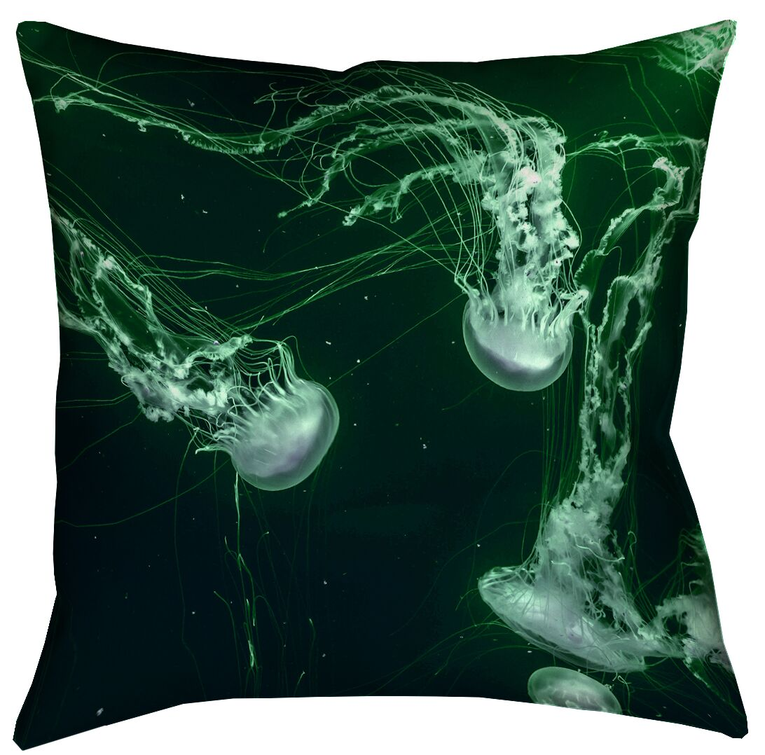 Roughton Green Jellyfish Pillow Cover Size: 16