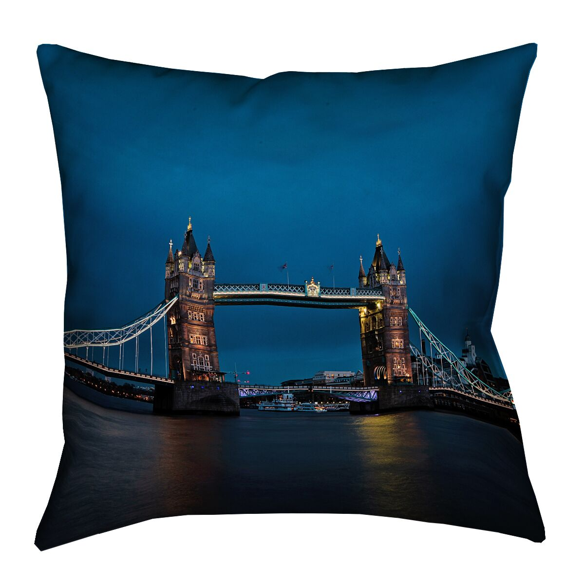 Holter Tower Bridge Outdoor Throw Pillow Size: 16