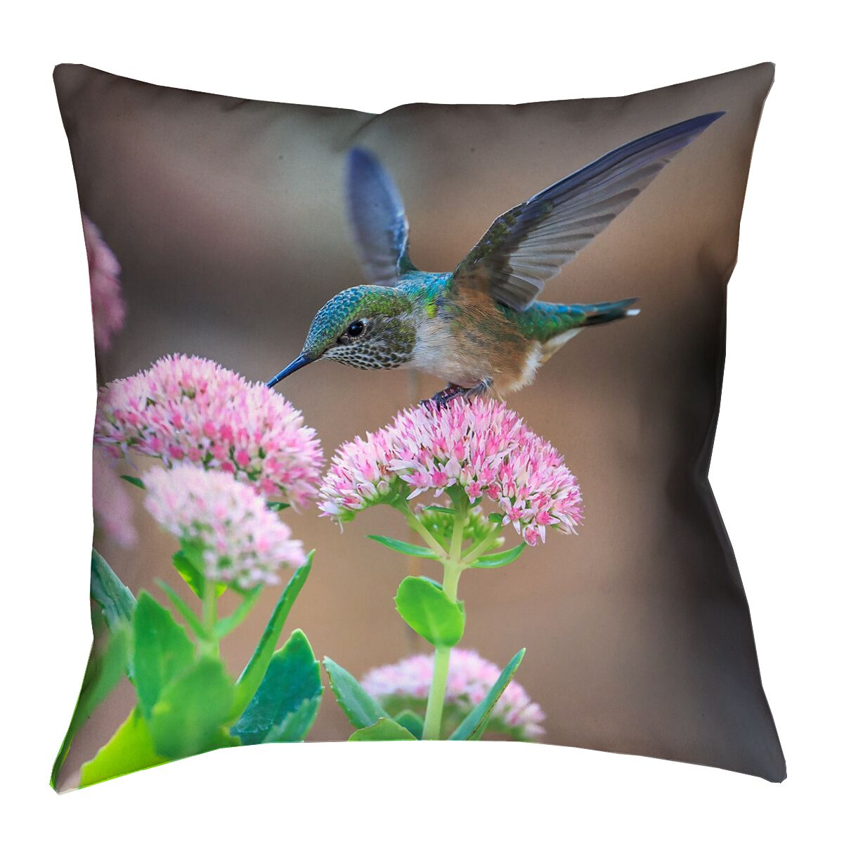 Holte Hummingbird Faux Linen Throw Pillow Size: 18