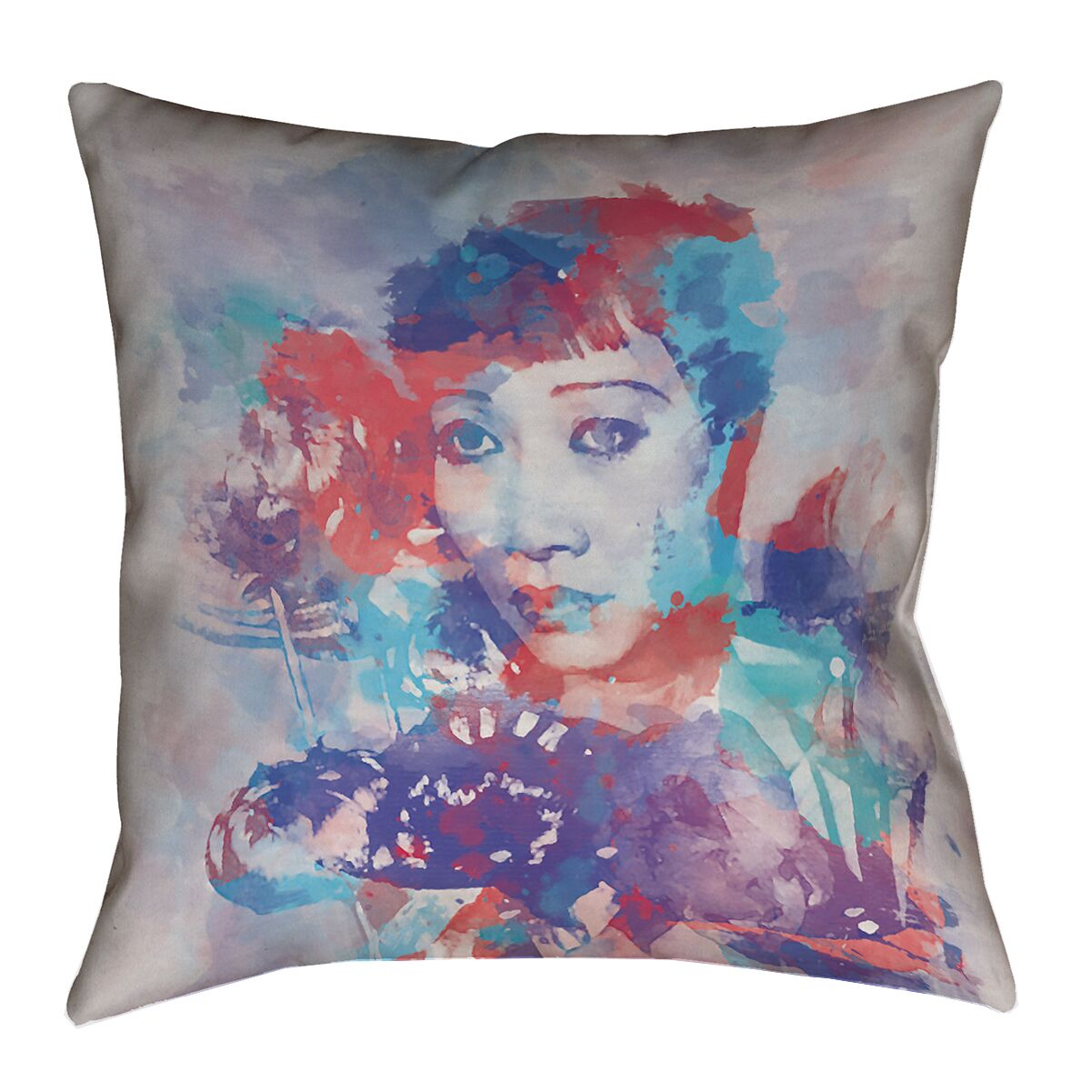 Watercolor Portrait 100% Cotton Euro Pillow