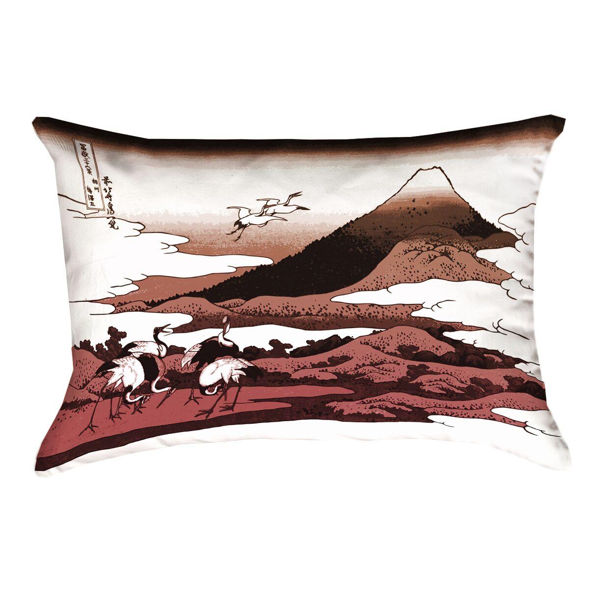 Montreal Japanese Cranes Outdoor Lumbar Pillow