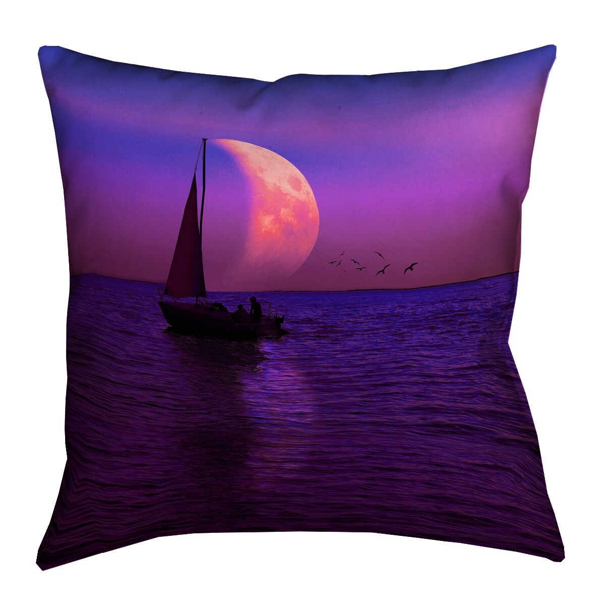 Jada Magenta Moon and Sailboat Square Cotton Pillow Cover Size: 26