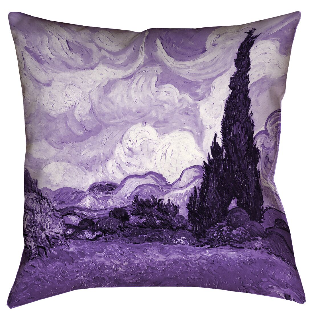 Bristol Woods Wheatfield with Cypresses Floor Pillow Size: 36