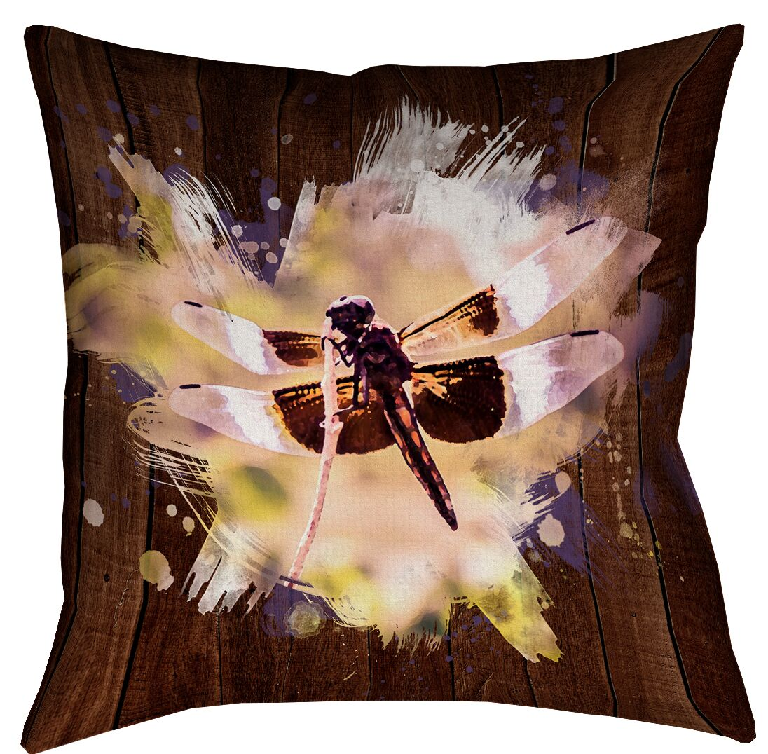 Hansard Watercolor Dragonfly Waterproof Throw Pillow Size: 20
