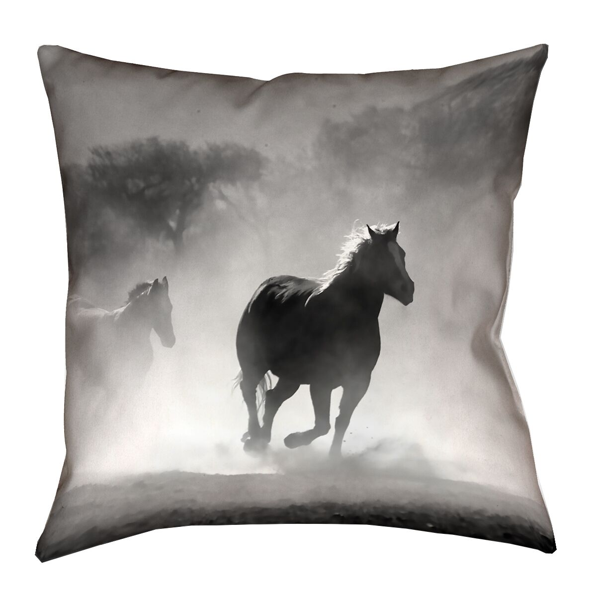 Aminata Galloping Horses Square Double Sided Print Throw Pillow Size: 40