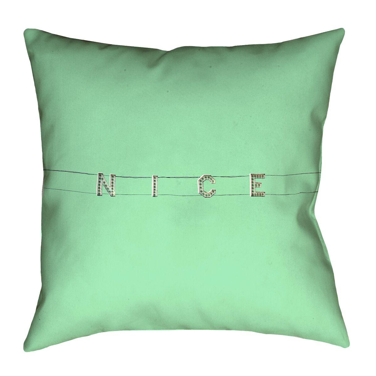 Hansard Nice Sign Indoor/Outdoor Throw Pillow Size: 16