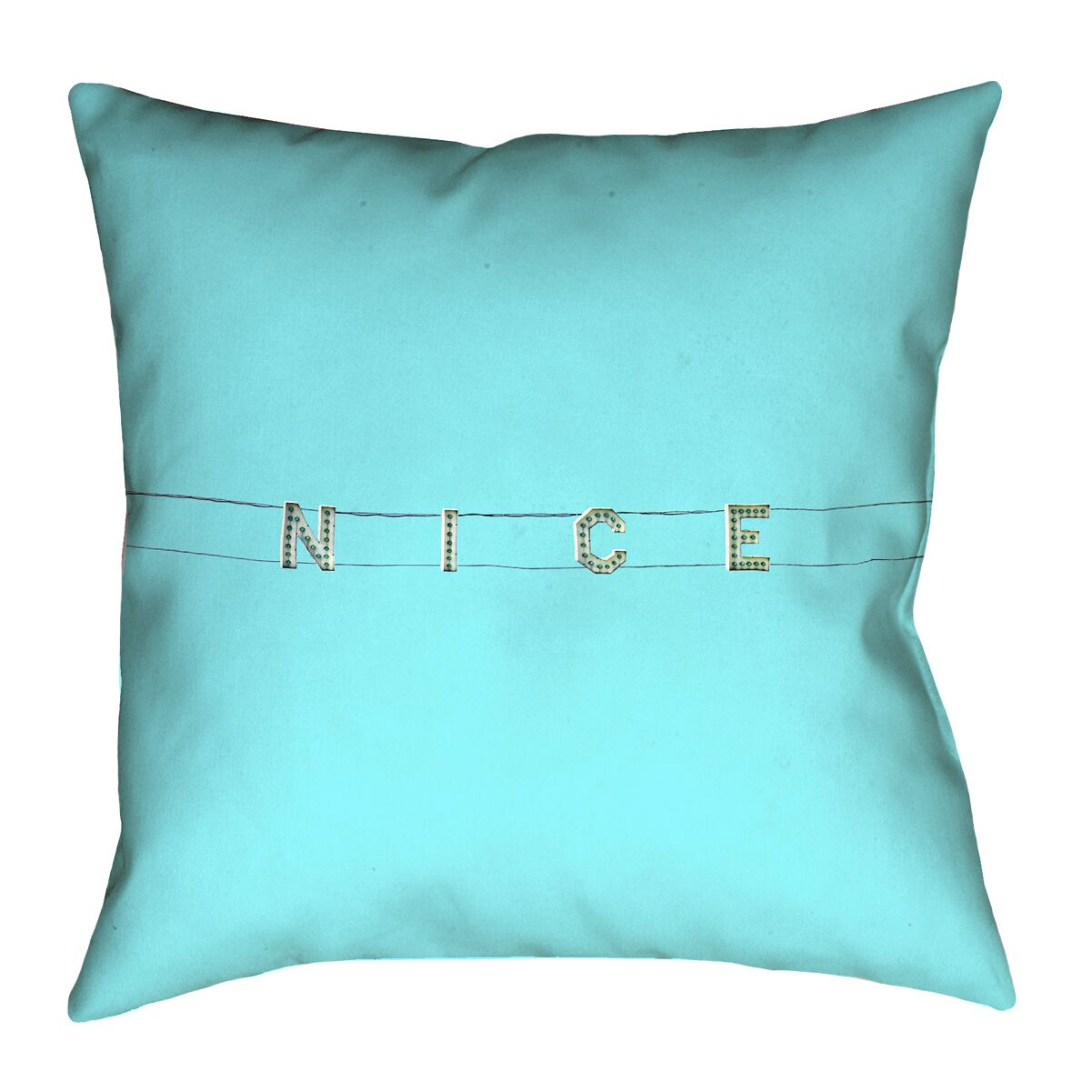 Hansard Nice Sign Linen Throw Pillow Size: 16