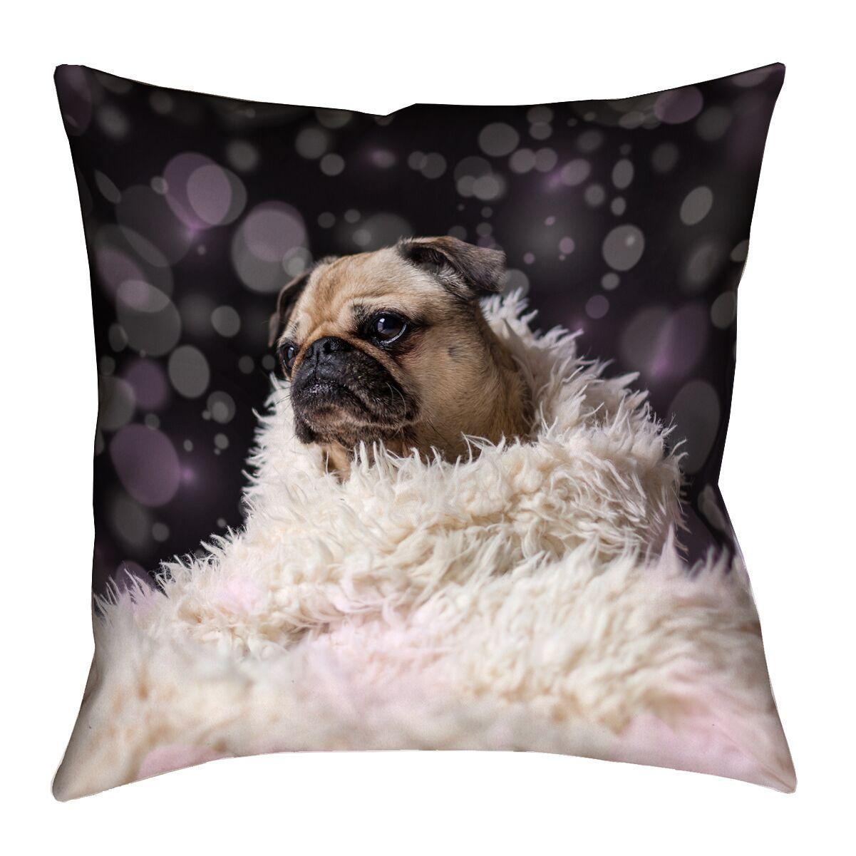 Hansard Fancy Pug Square Outdoor Throw Pillow Size: 18