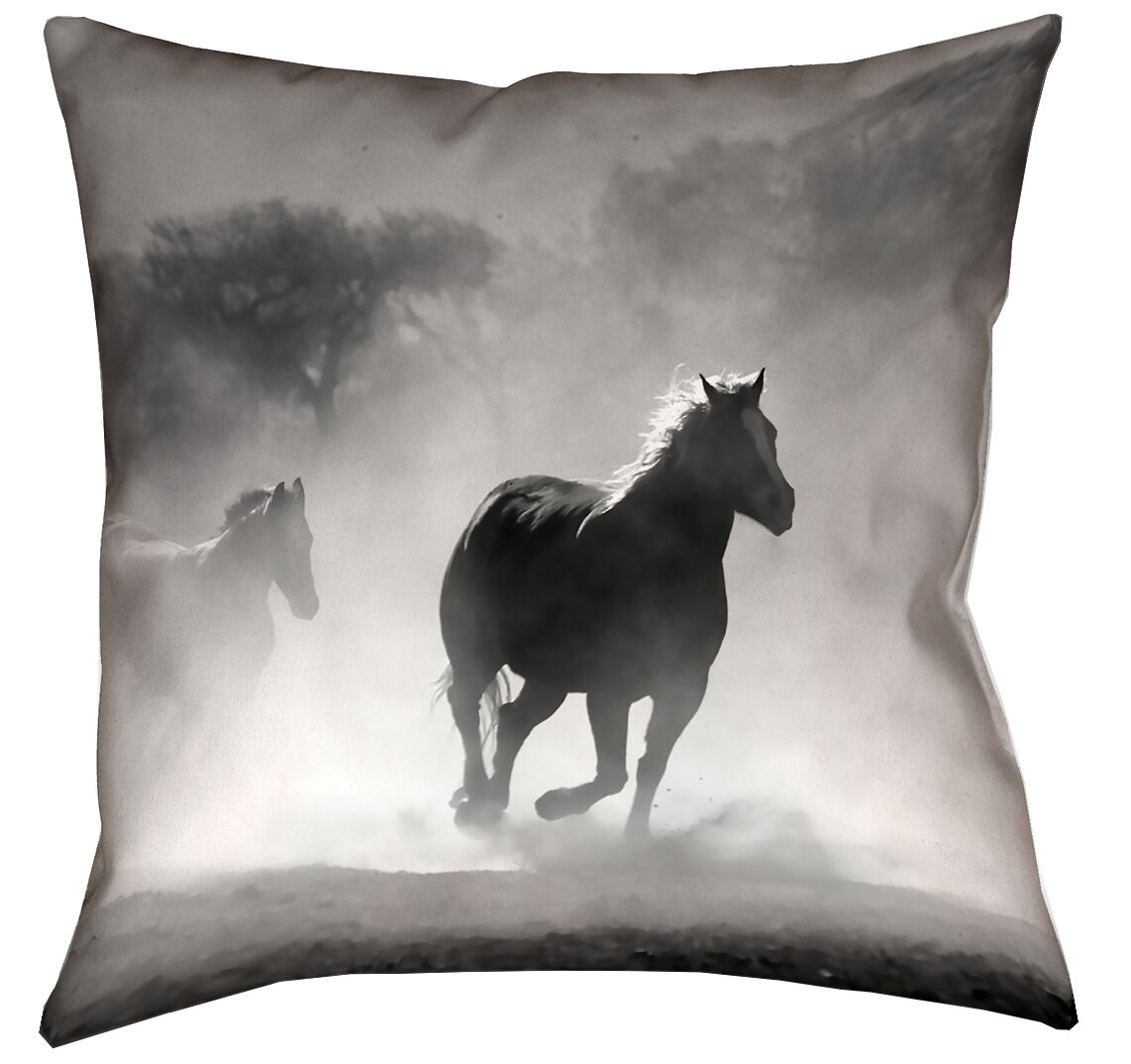 Aminata Galloping Horses Double Sided Print Indoor Throw Pillow Size: 26