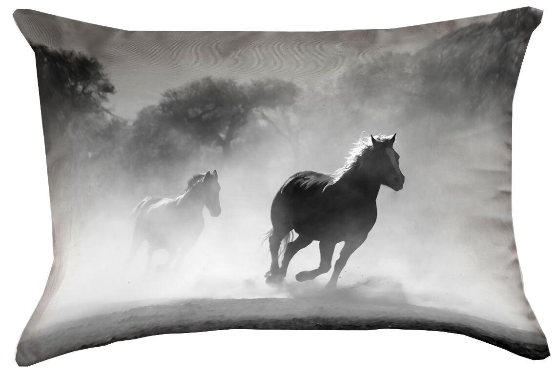 Aminata Galloping Horses Rectangular Double Sided Print Indoor Lumbar Pillow