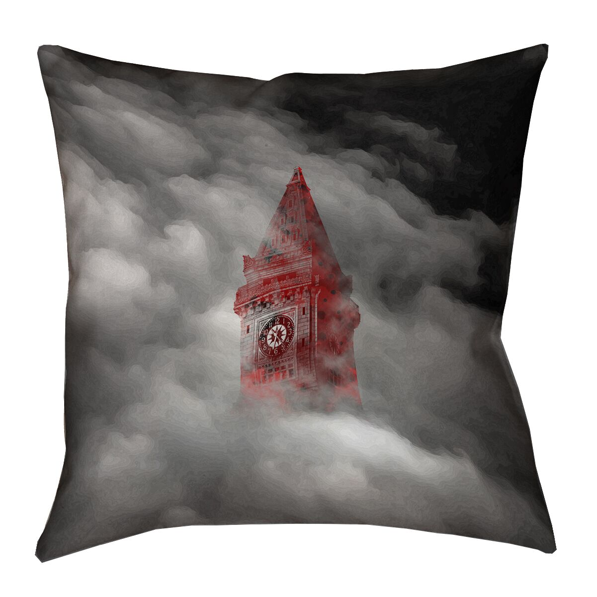 Watercolor Gothic Clocktower 100% Cotton Throw Pillow Size: 16