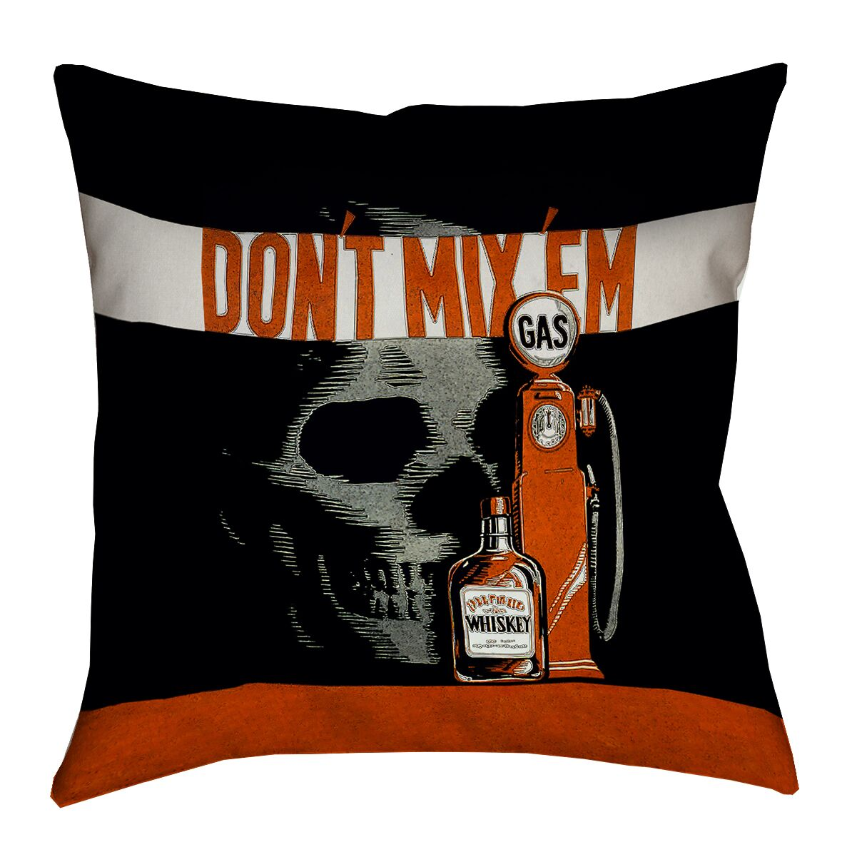 Anti-Drunk Driving Poster 100% Cotton Pillow Cover Size: 16