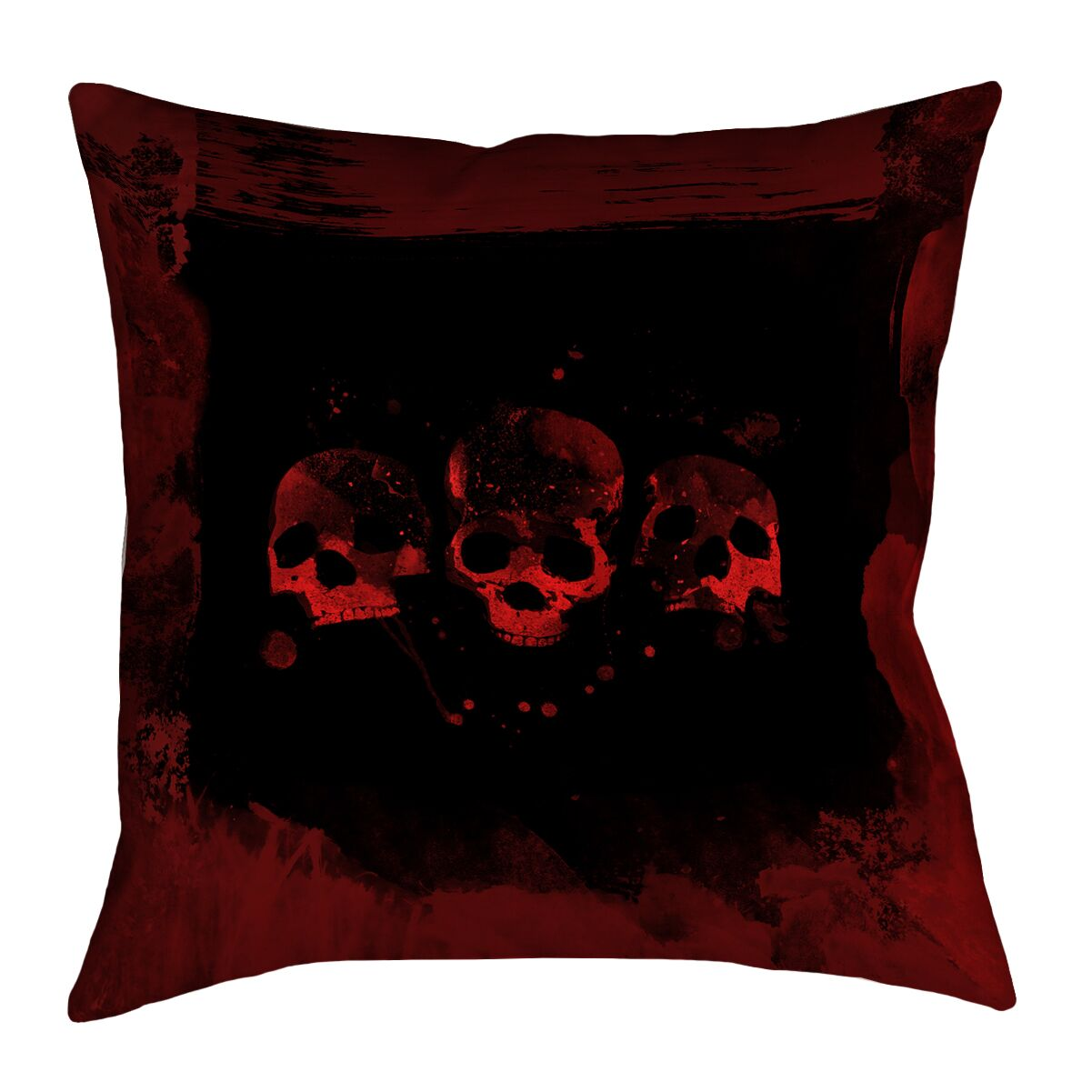 Spooky Watercolor Skulls Linen Pillow Cover Size: 18