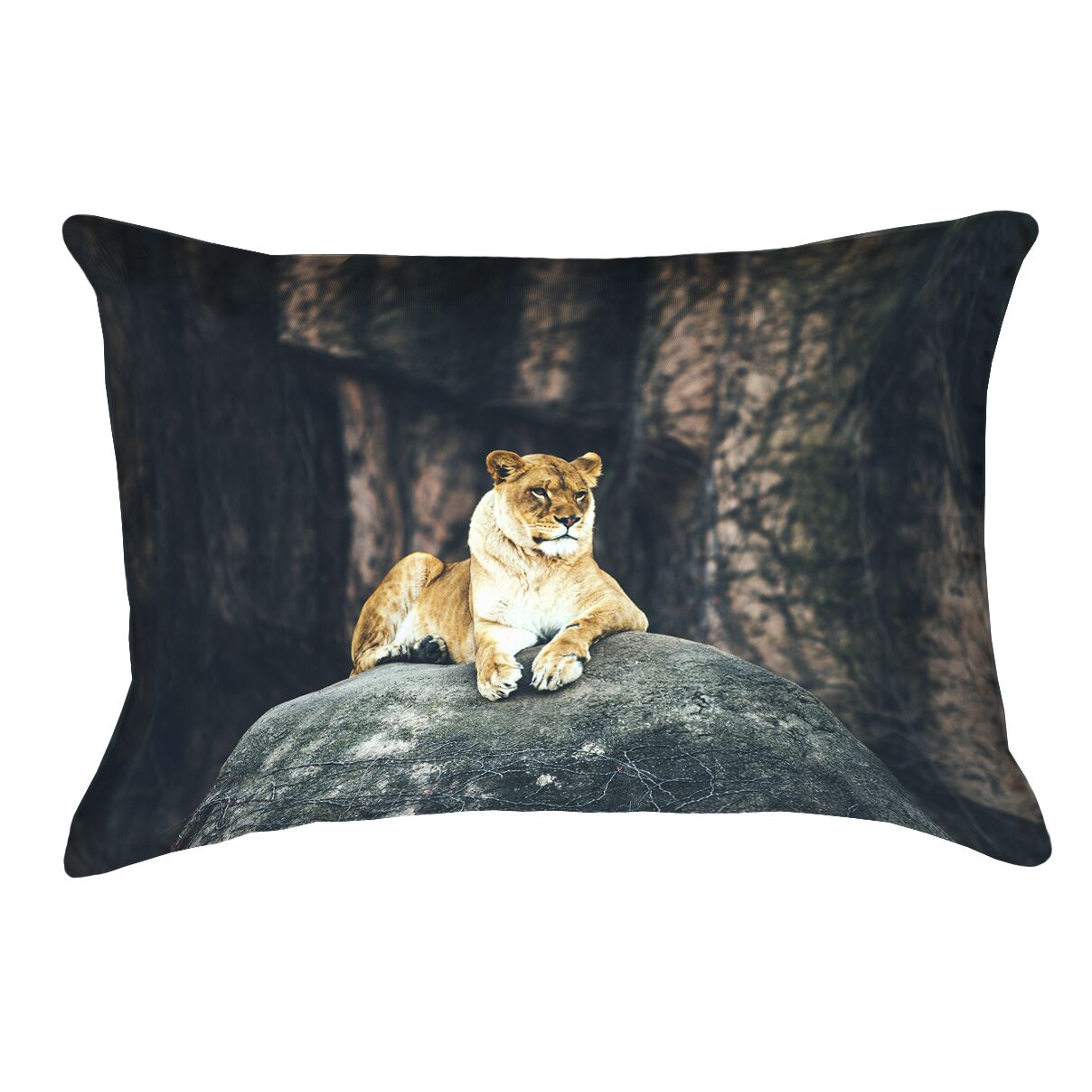 Thatcher Lioness Lumbar Pillow with Concealed Zipper