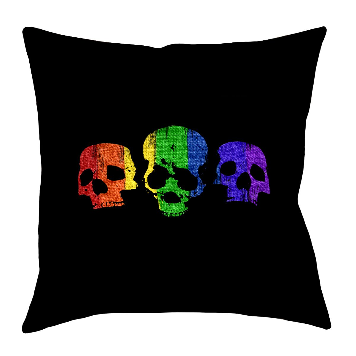 Rainbow Skulls Linen Throw Pillow Size: 16