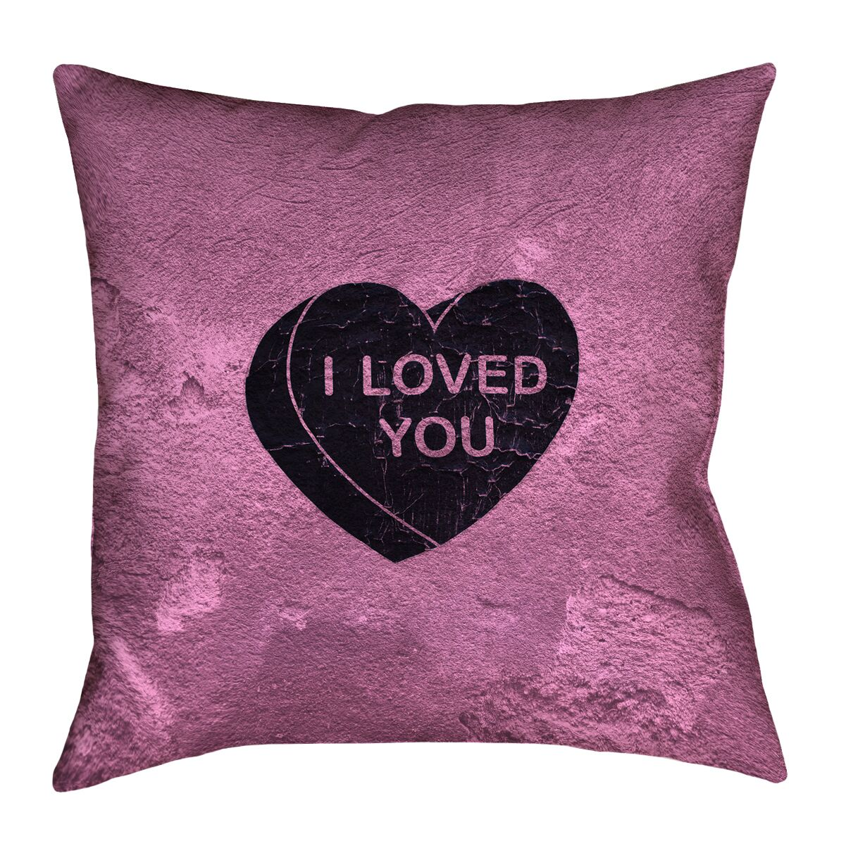 Enciso I Loved You Heart Graphic Outdoor Throw Pillow Color: Pink, Size: 16