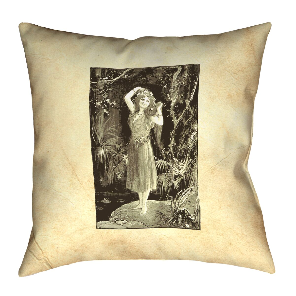 Aridas Vintage Forest Girl Square Pillow Size: 16