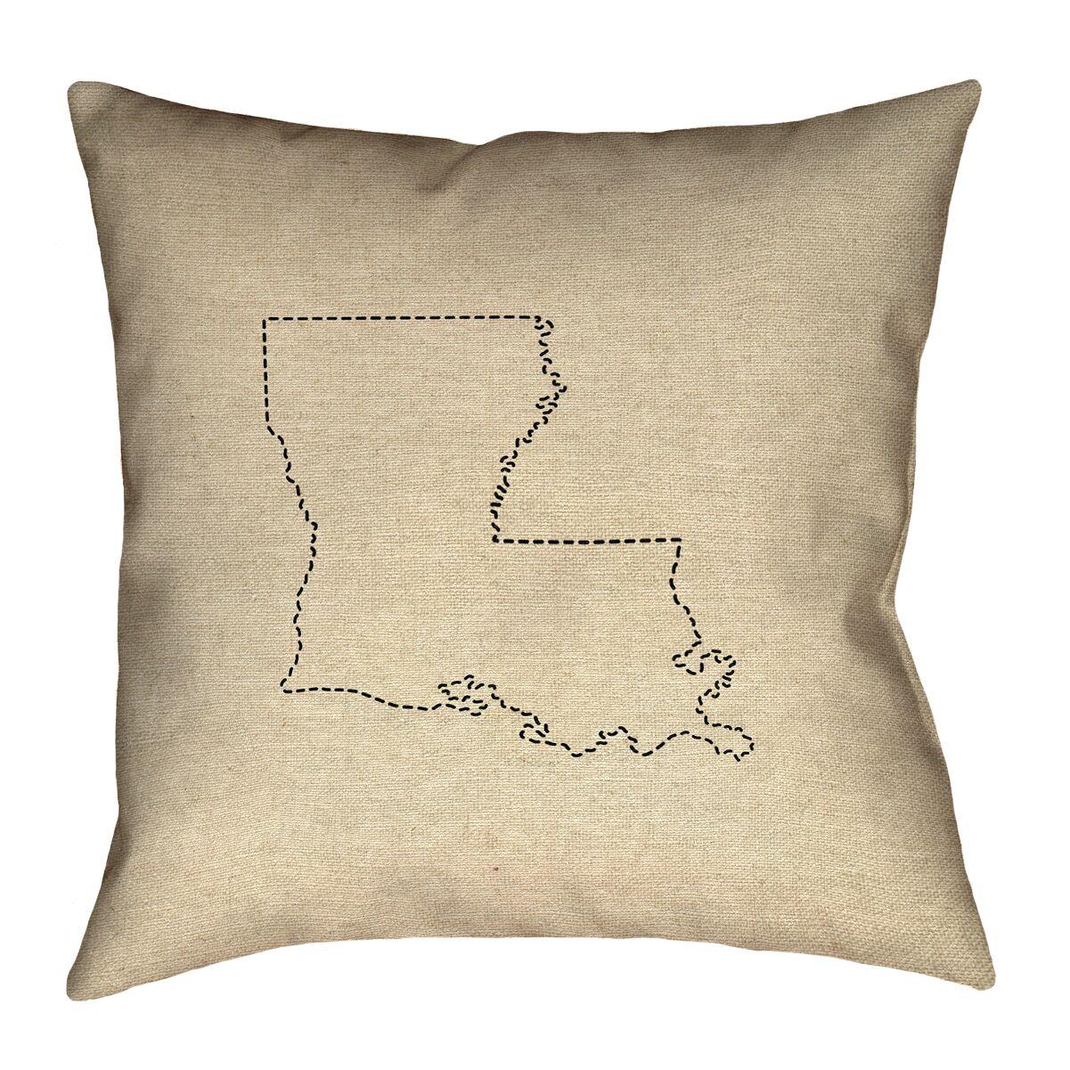 Austrinus Louisiana Dash Outline Outdoor Throw Pillow Size: 20