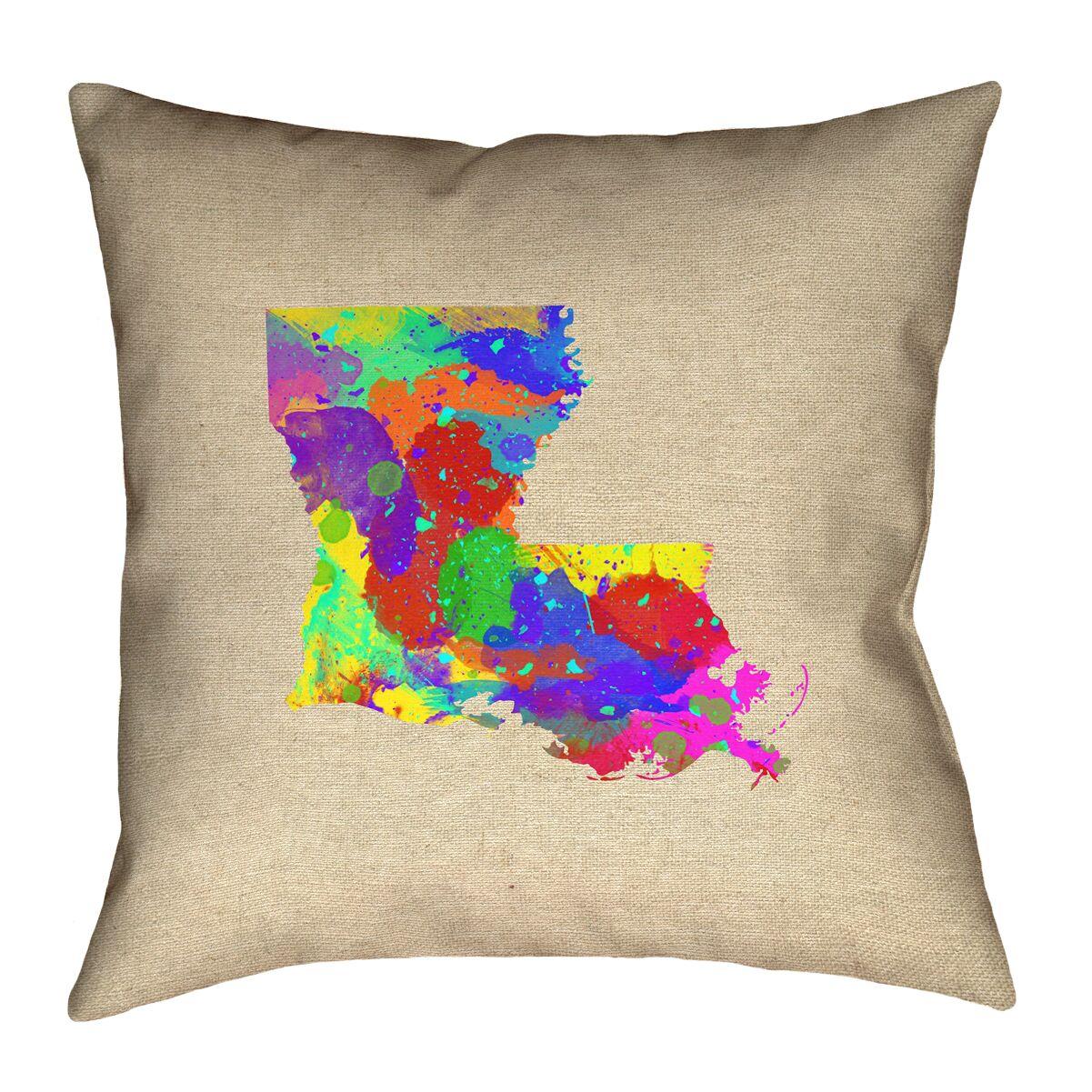 Austrinus Louisiana Watercolor Outdoor Throw Pillow Size: 16