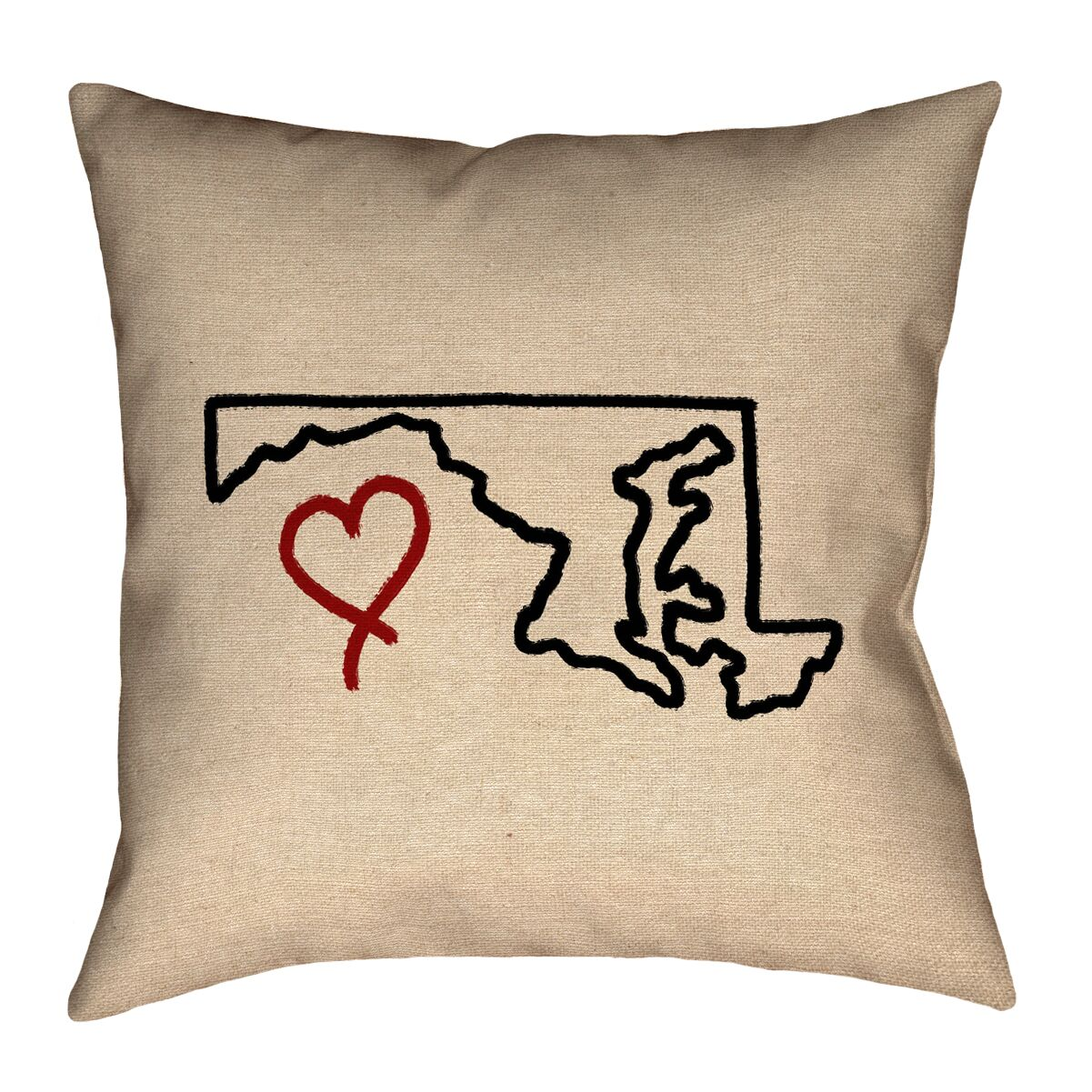 Austrinus Maryland Love Outline Square Outdoor Throw Pillow Size: 18