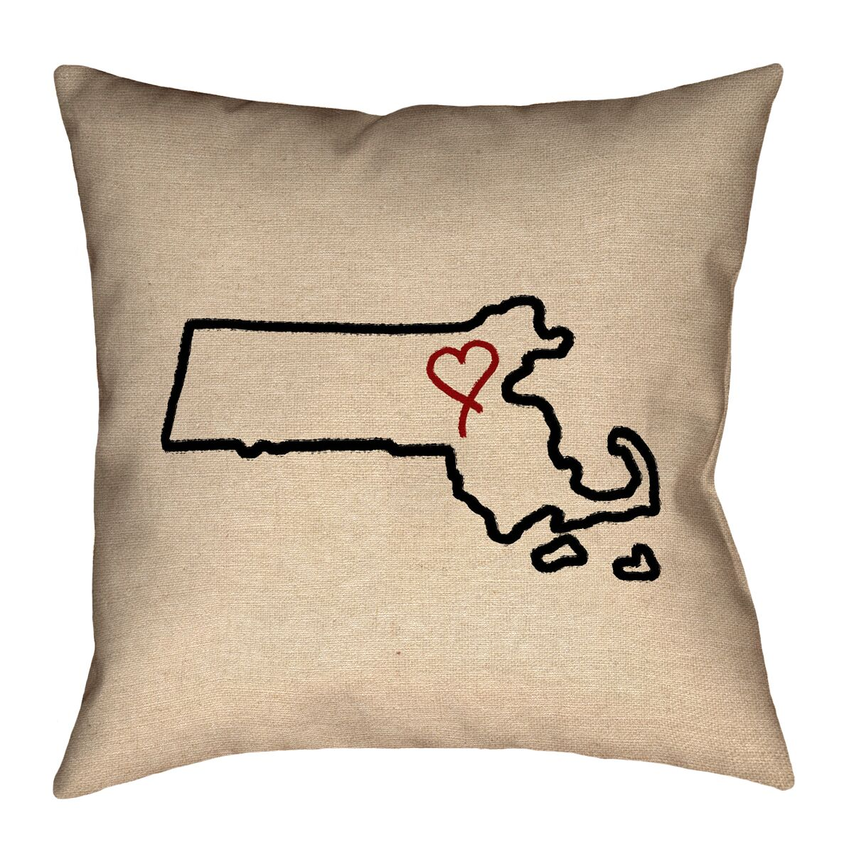 Austrinus Massachusetts Love Outline Floor Pillow Size: 28