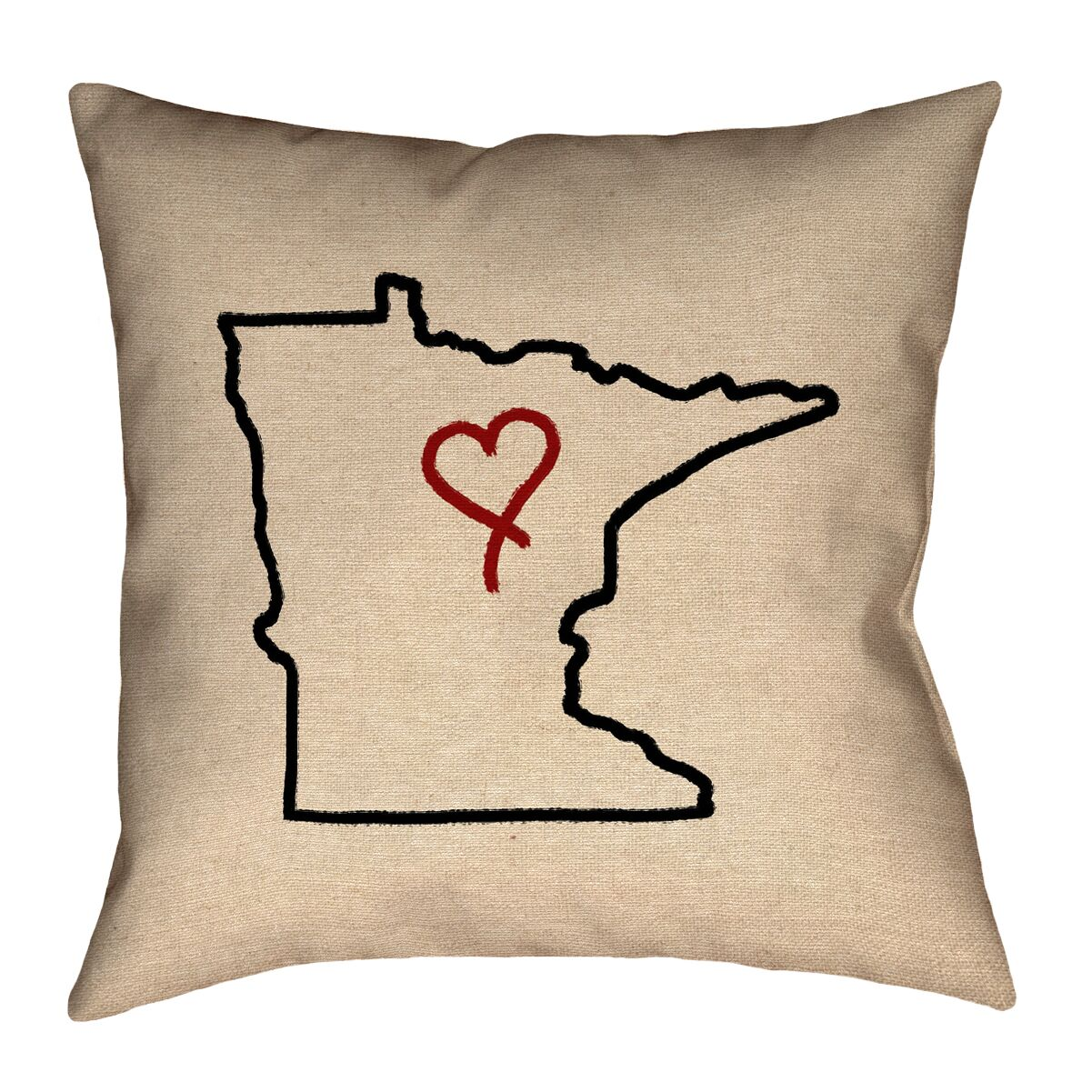 Austrinus Minnesota Love Outline Throw Pillow Size: 26