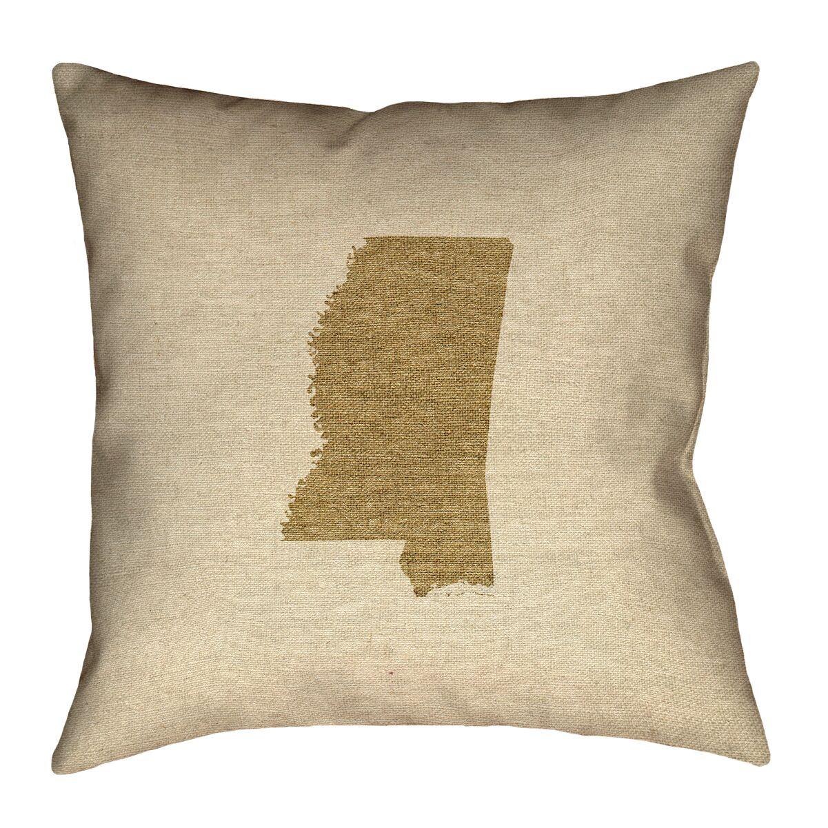 Austrinus Mississippi Outdoor Throw Pillow Size: 16