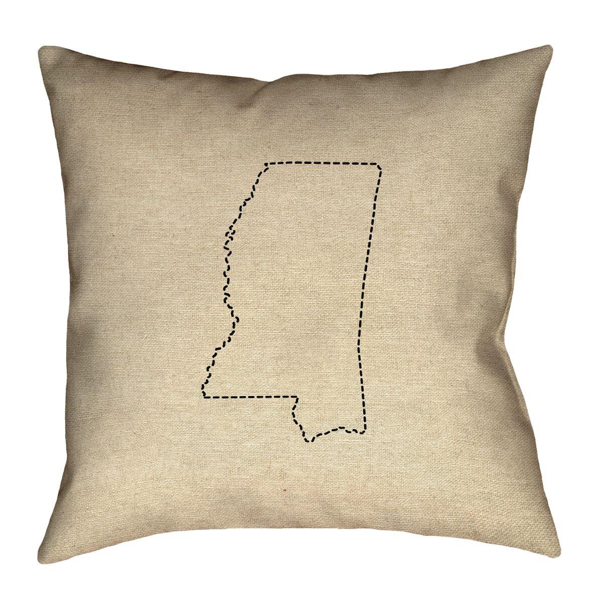 Austrinus Mississippi Dash Outline Throw Pillow Size: 20