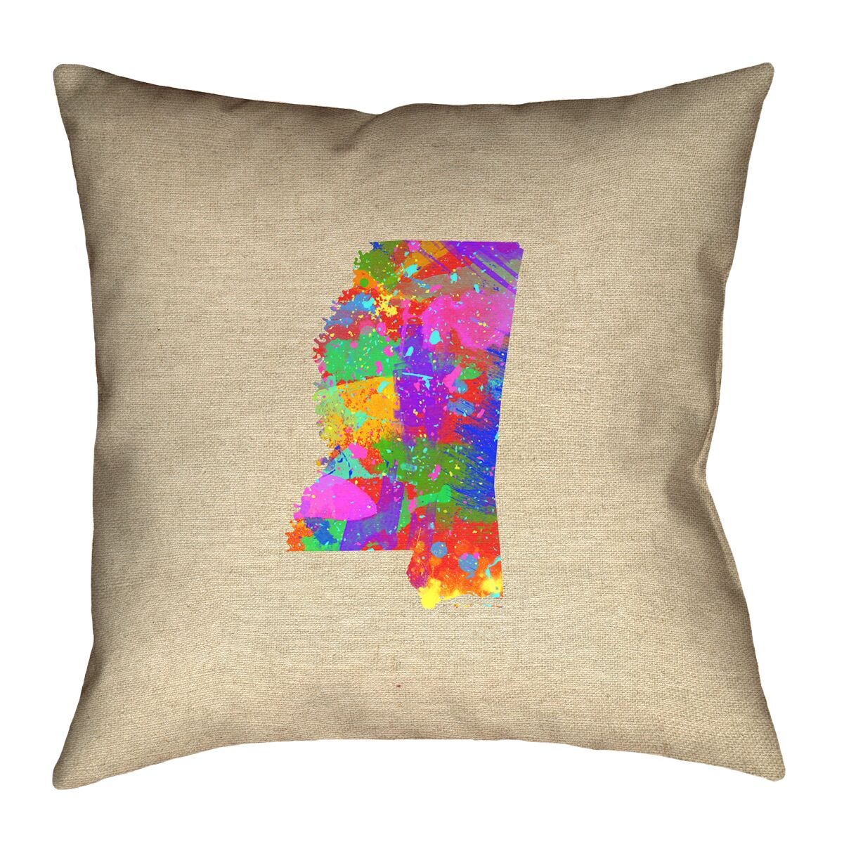 Austrinus Mississippi Watercolor Outdoor Throw Pillow Size: 18