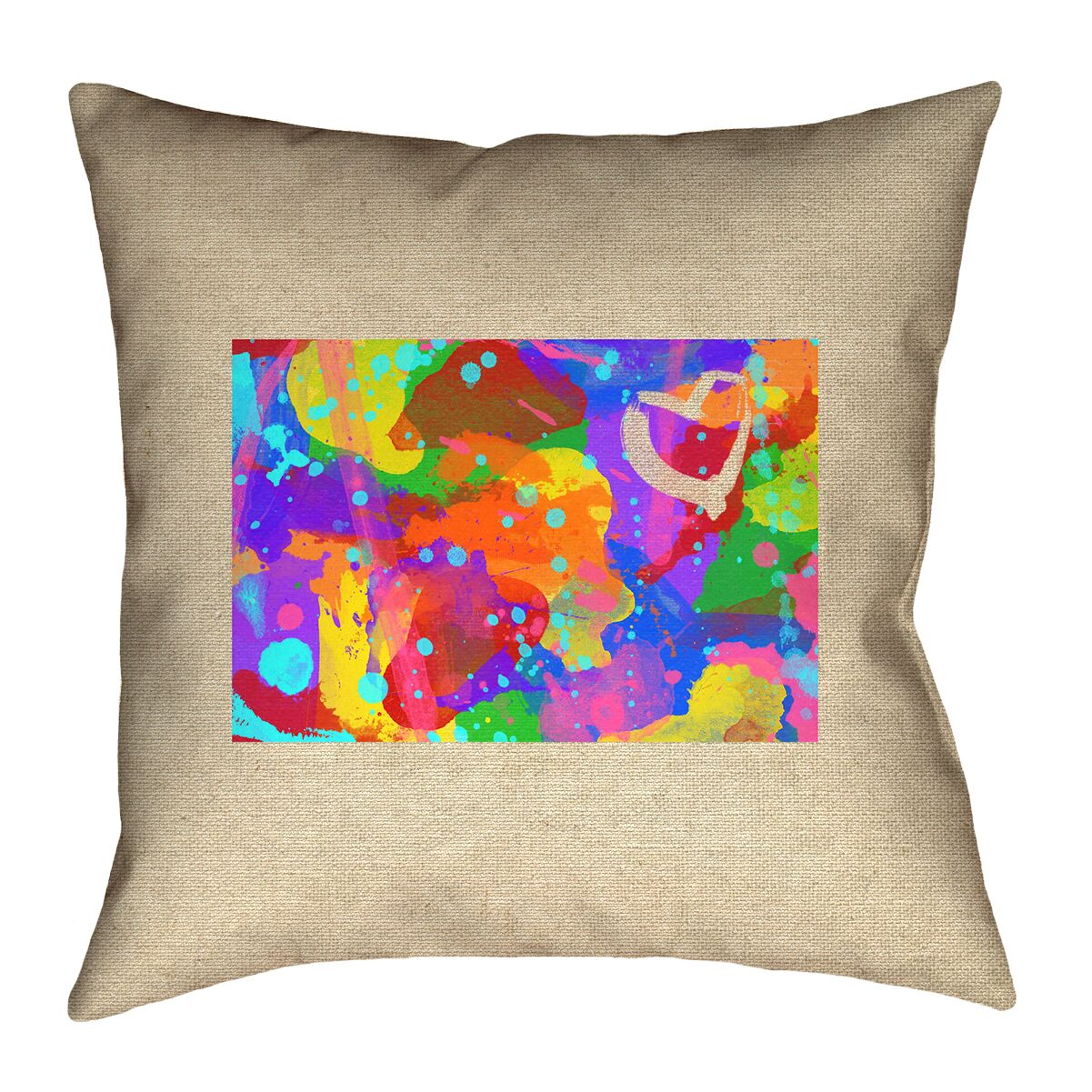 Sherilyn Wyoming Love Watercolor Throw Pillow Size: 16