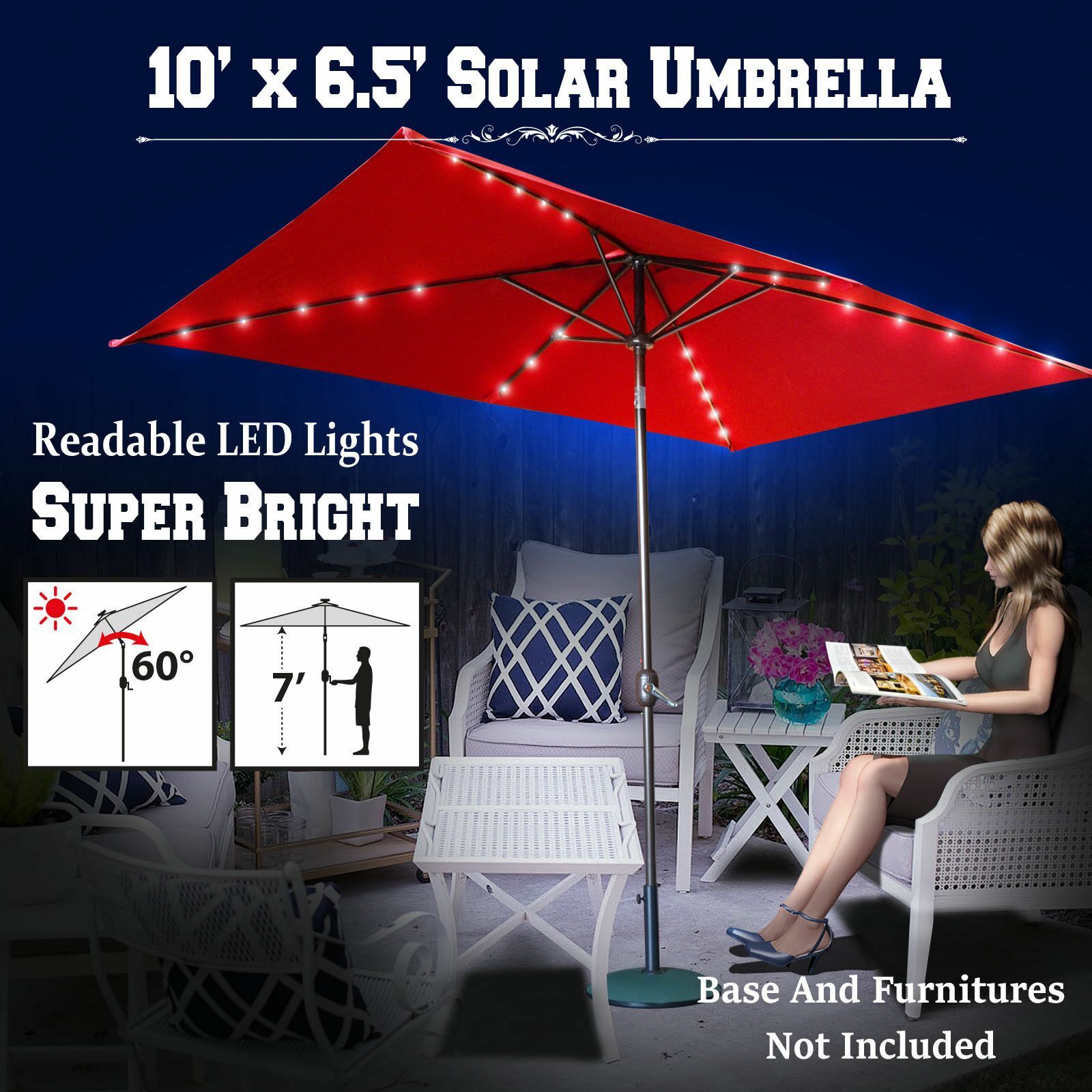 Finn 10' X 6.5' Rectangular Lighted Umbrella Color: Burgundy