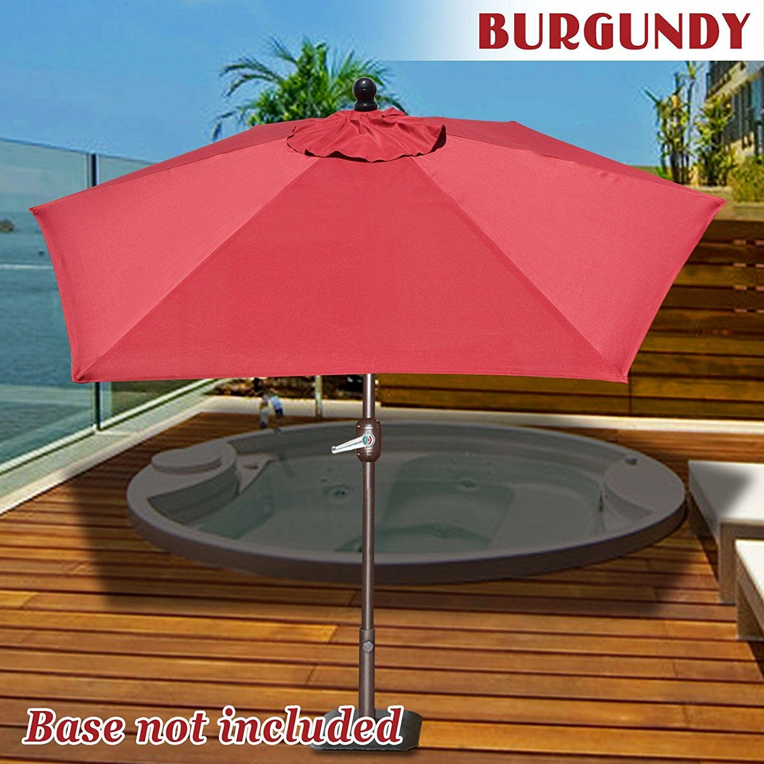 Eldora 8' Lighted Umbrella Fabric Color: Burgundy