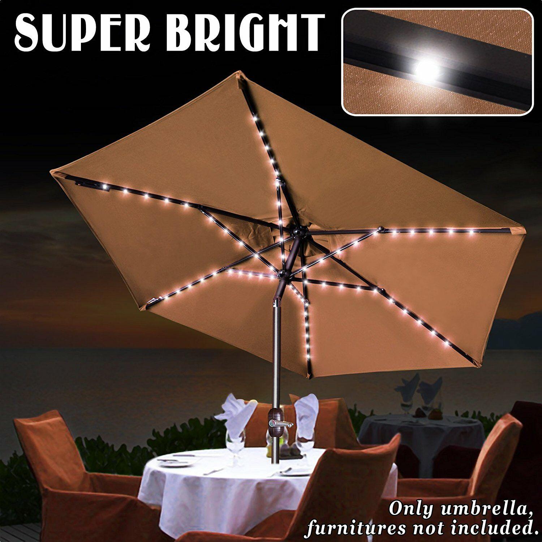 Eldora 8' Lighted Umbrella Fabric Color: Brown