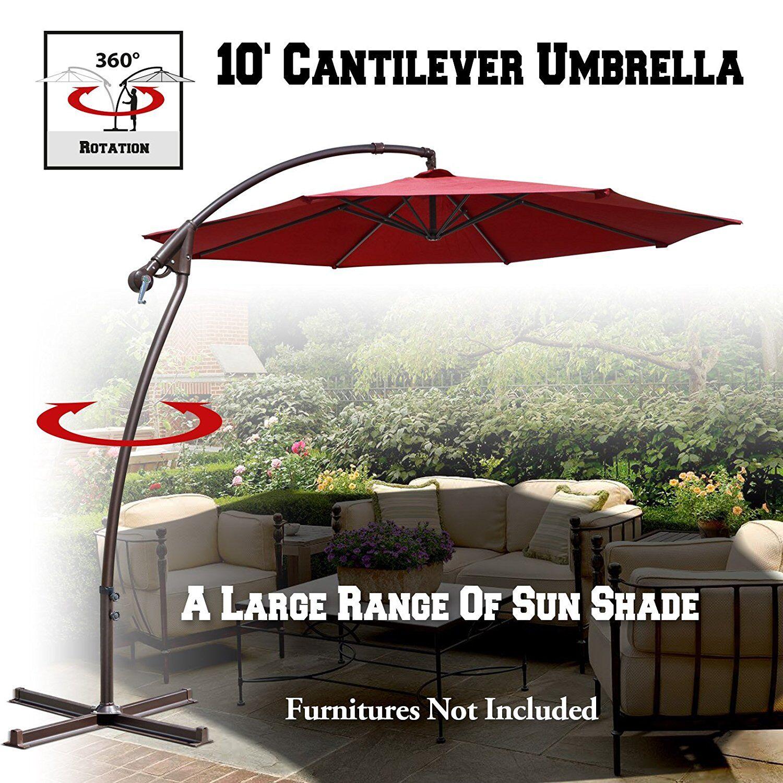 Kassidy Patio 10' Cantilever Umbrella Fabric Color: Burgundy