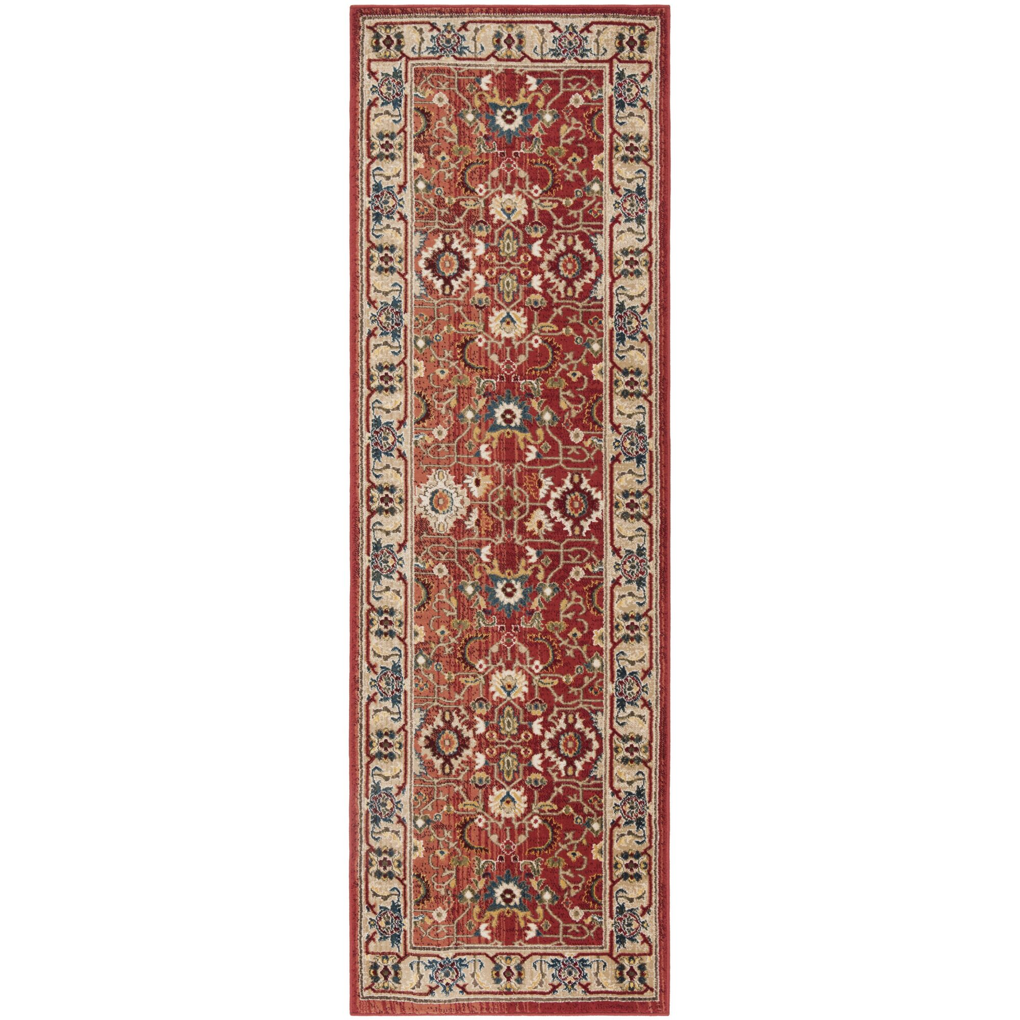 Ines Red/Beige Area Rug Rug Size: Runner 2'6