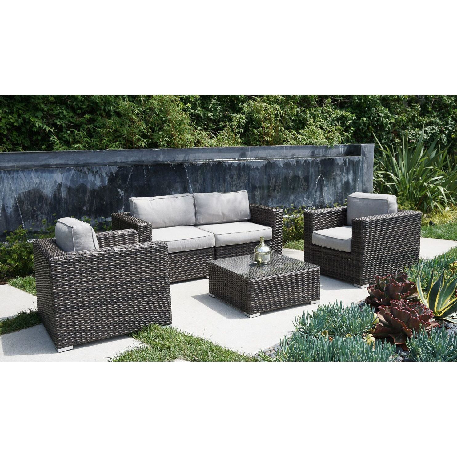 Nolen 5 Piece Rattan Sectional Set with Cushions