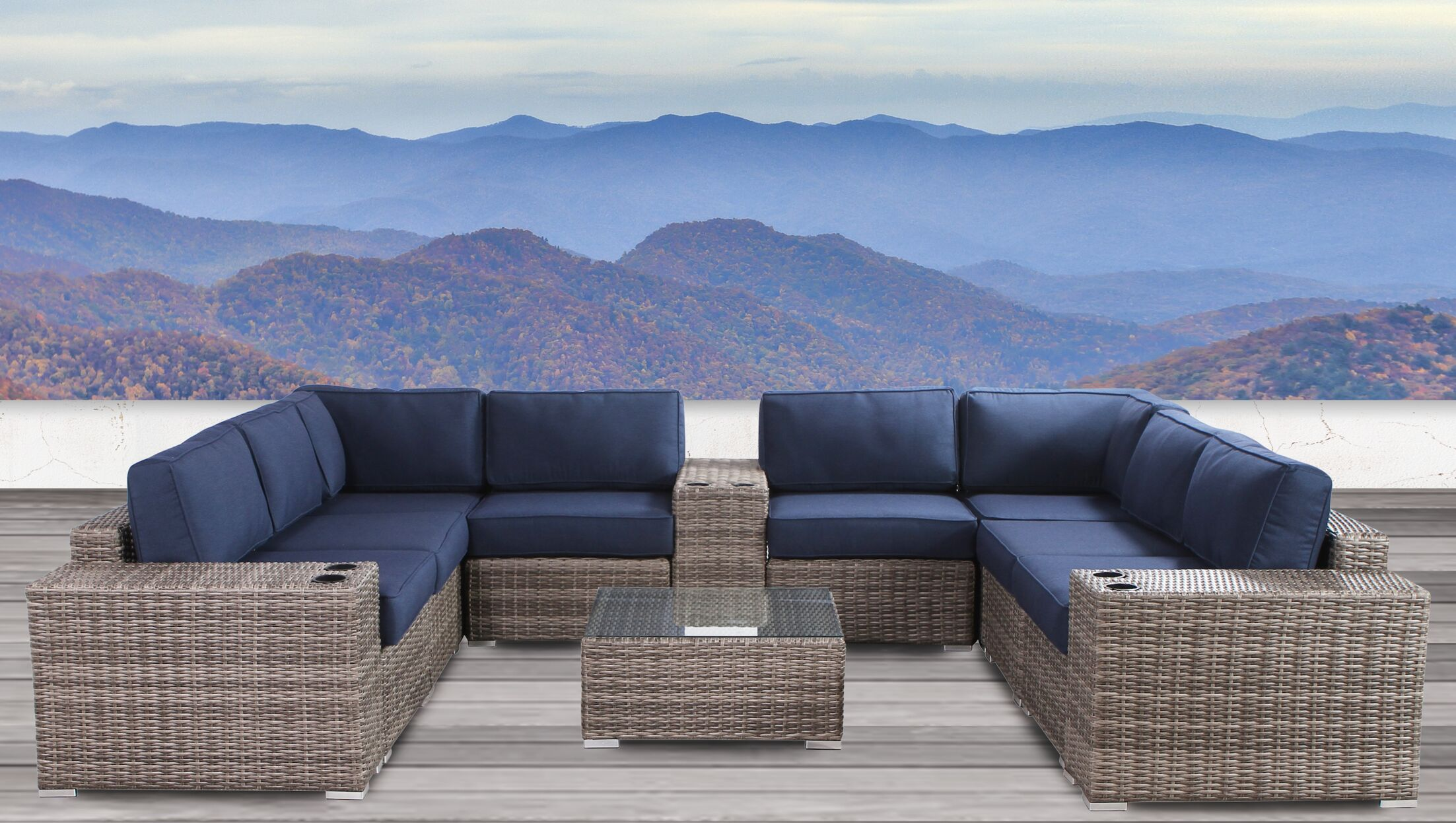 Lue 12 Piece Sunbrella Sectional Set with Cushions