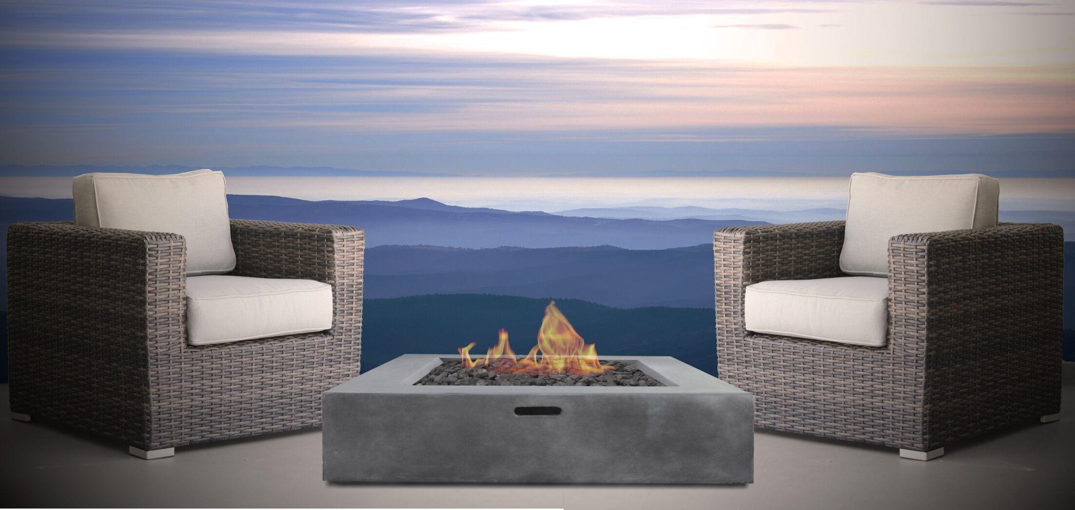 Defino Fire Pit 3 Piece Conversation Set Frame Color: Espresso, Fire Pit Size: 42