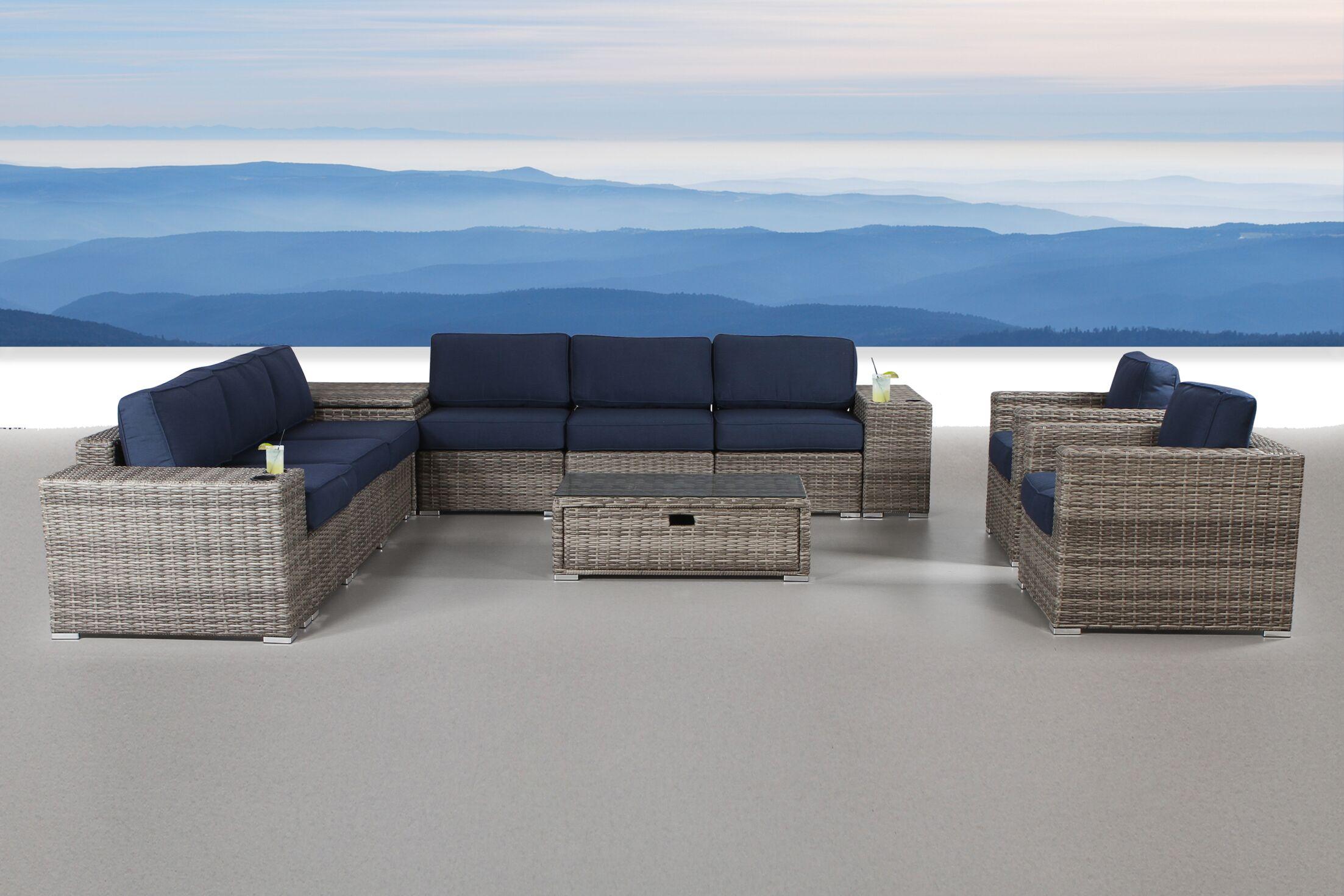 Quincy 12 Piece Rattan Sunbrella Conversation Set with Cushions
